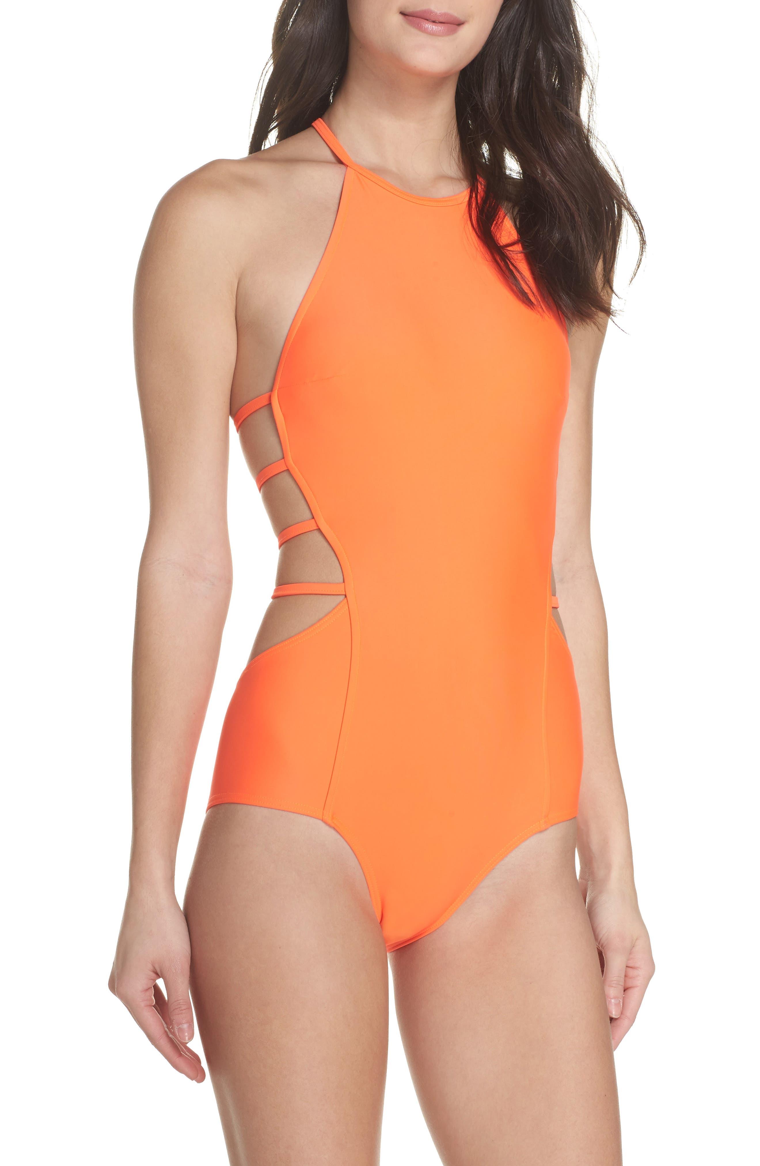 Amelia Strappy Back One-Piece Swimsuit,                         Main,                         color, Neon Lava Orange