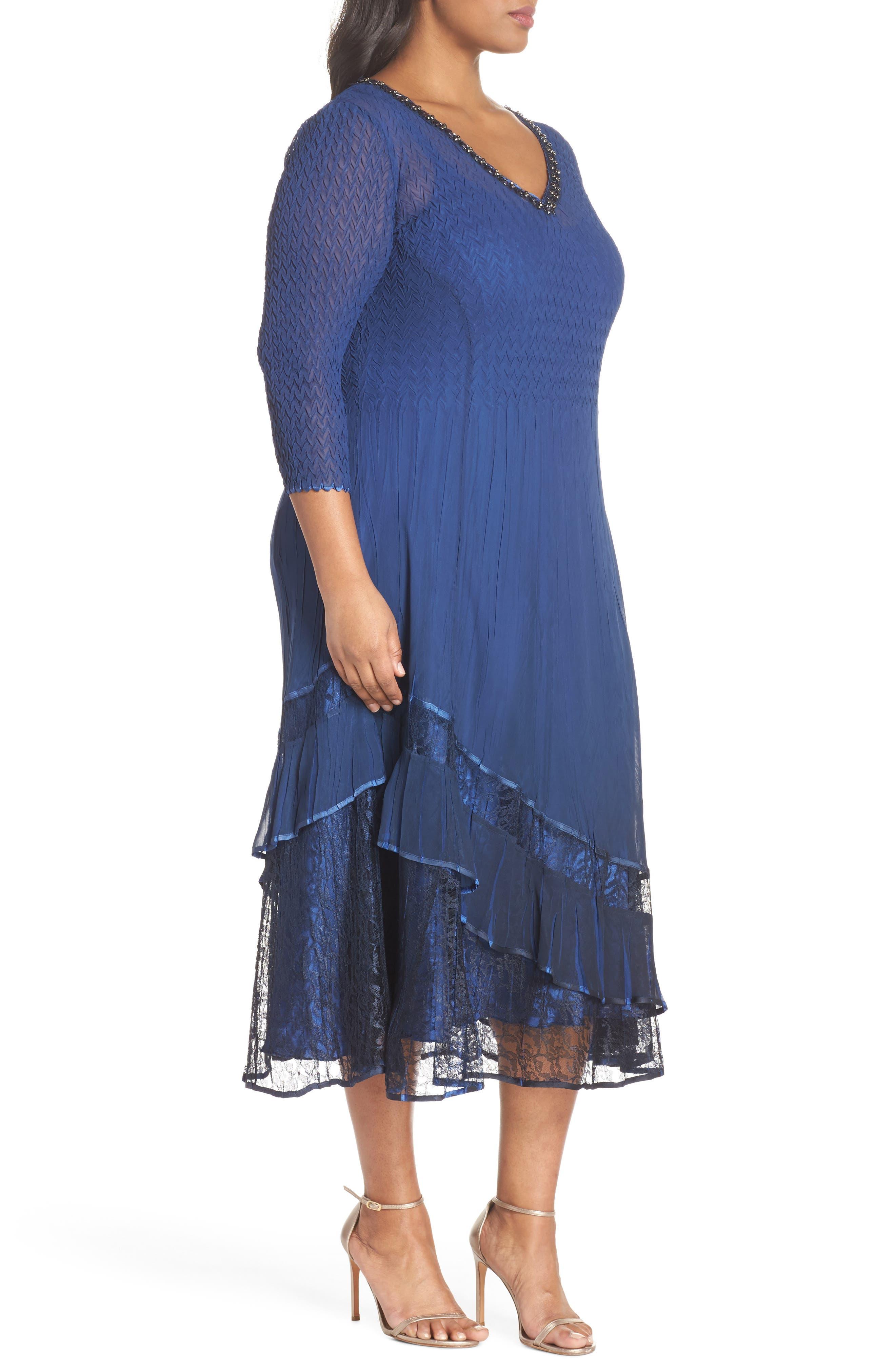 Charmeuse & Chiffon A-Line Dress,                             Alternate thumbnail 3, color,                             Navy Black Ombre