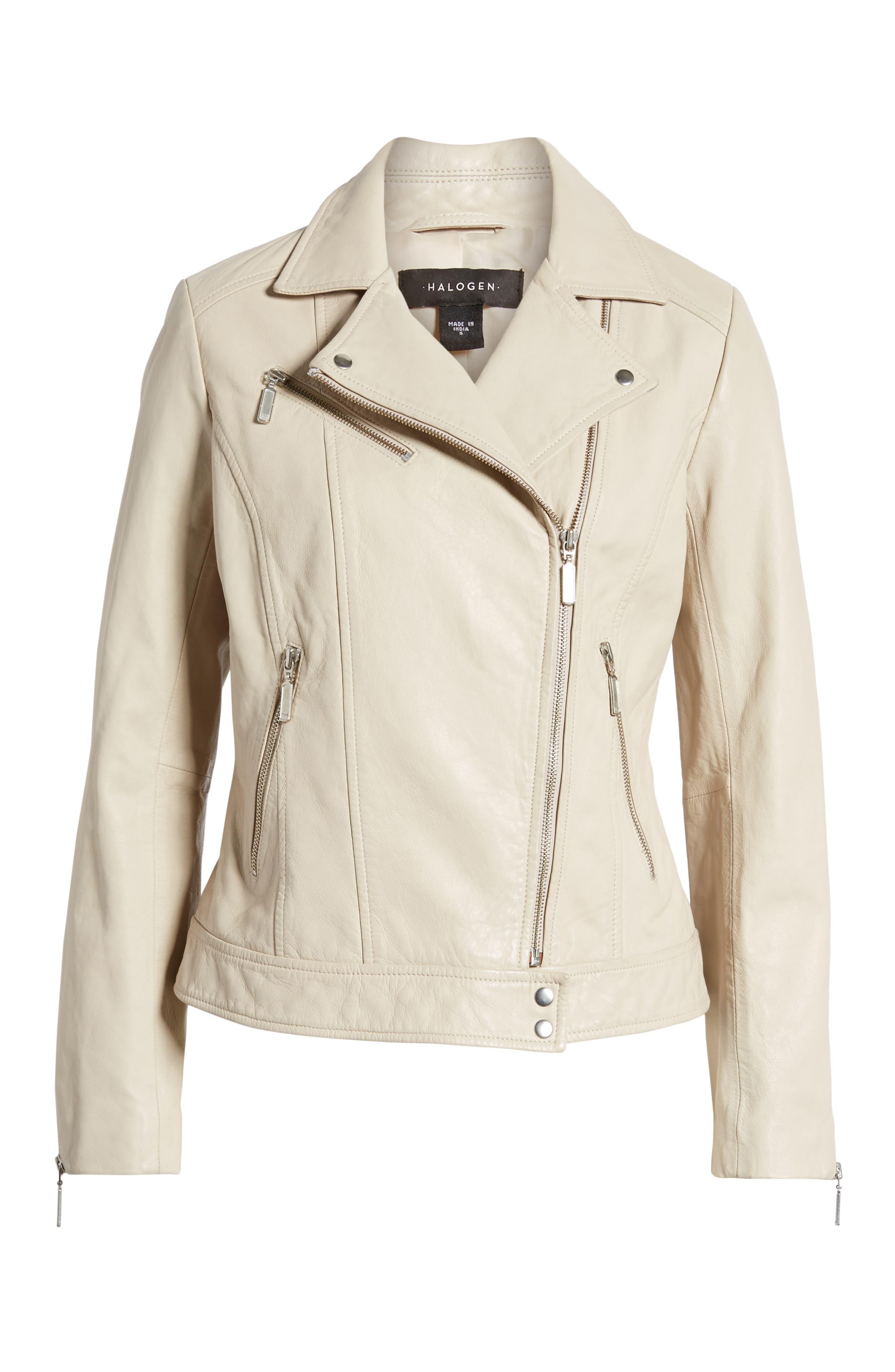 Moto Zip Leather Jacket,                             Alternate thumbnail 6, color,                             Champagne