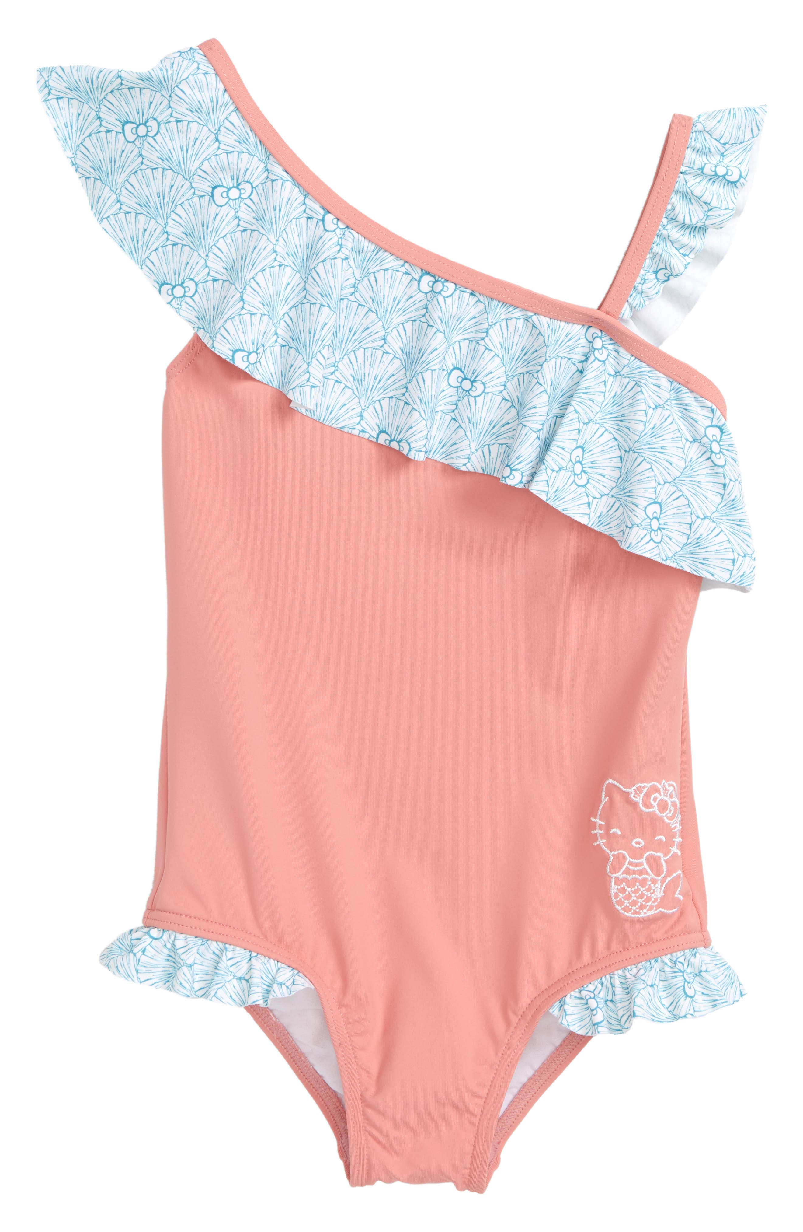 O'Neill x Hello Kitty® Shelly One-Shoulder One-Piece Swimsuit (Toddler Girls & Little Girls)
