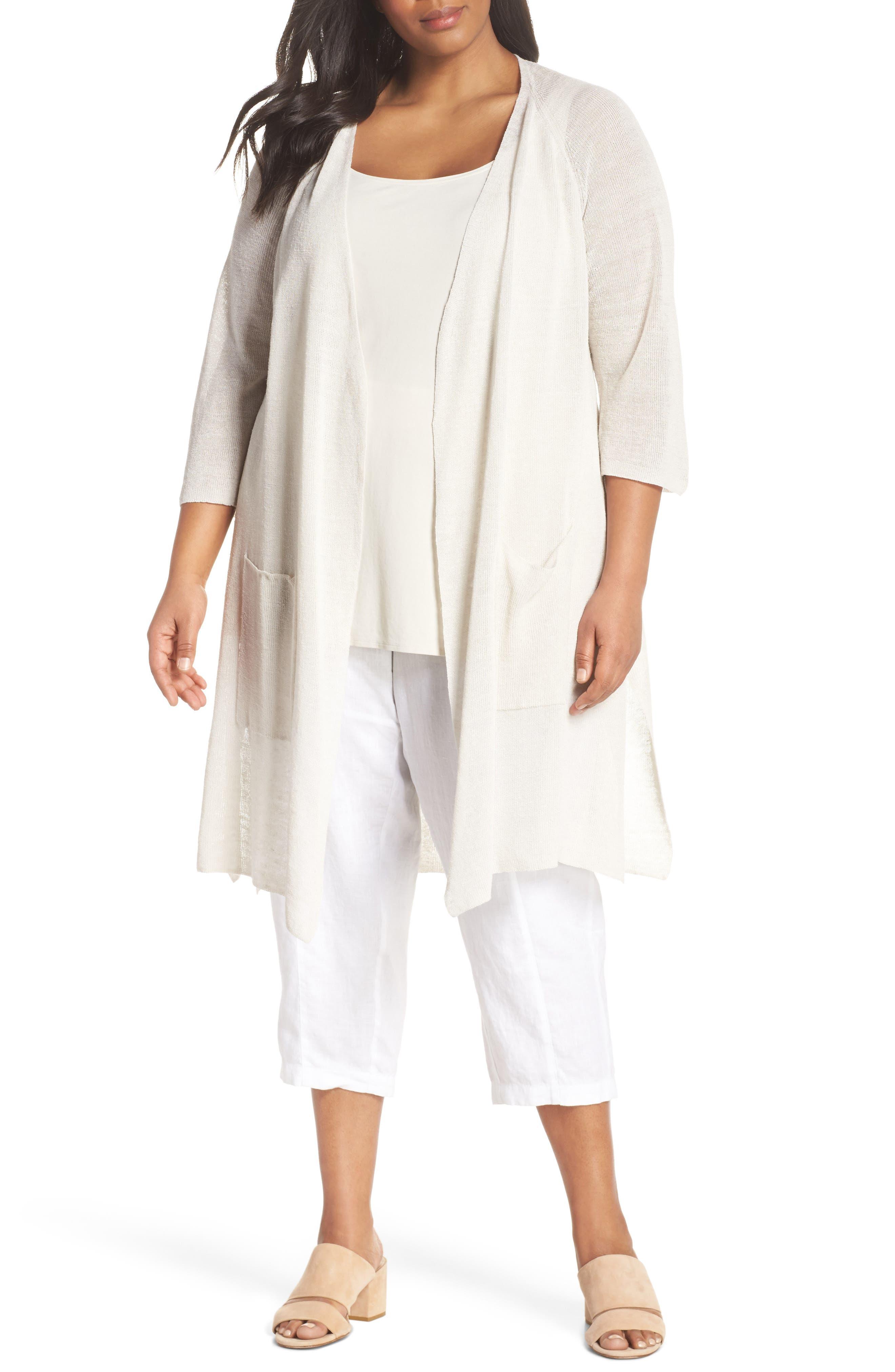 Eileen Fisher Long Organic Linen Blend Kimono Cardigan (Plus Size)