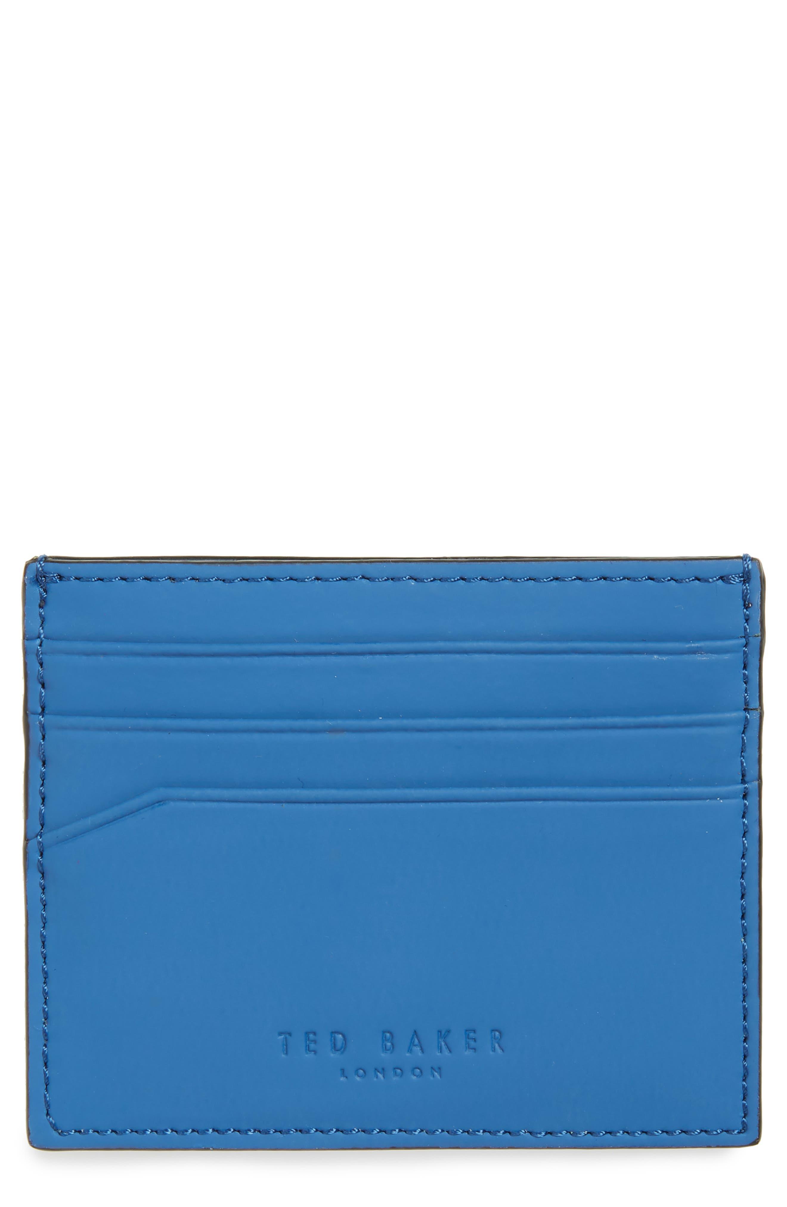 Sands Rubber Leather Card Case,                         Main,                         color, Blue