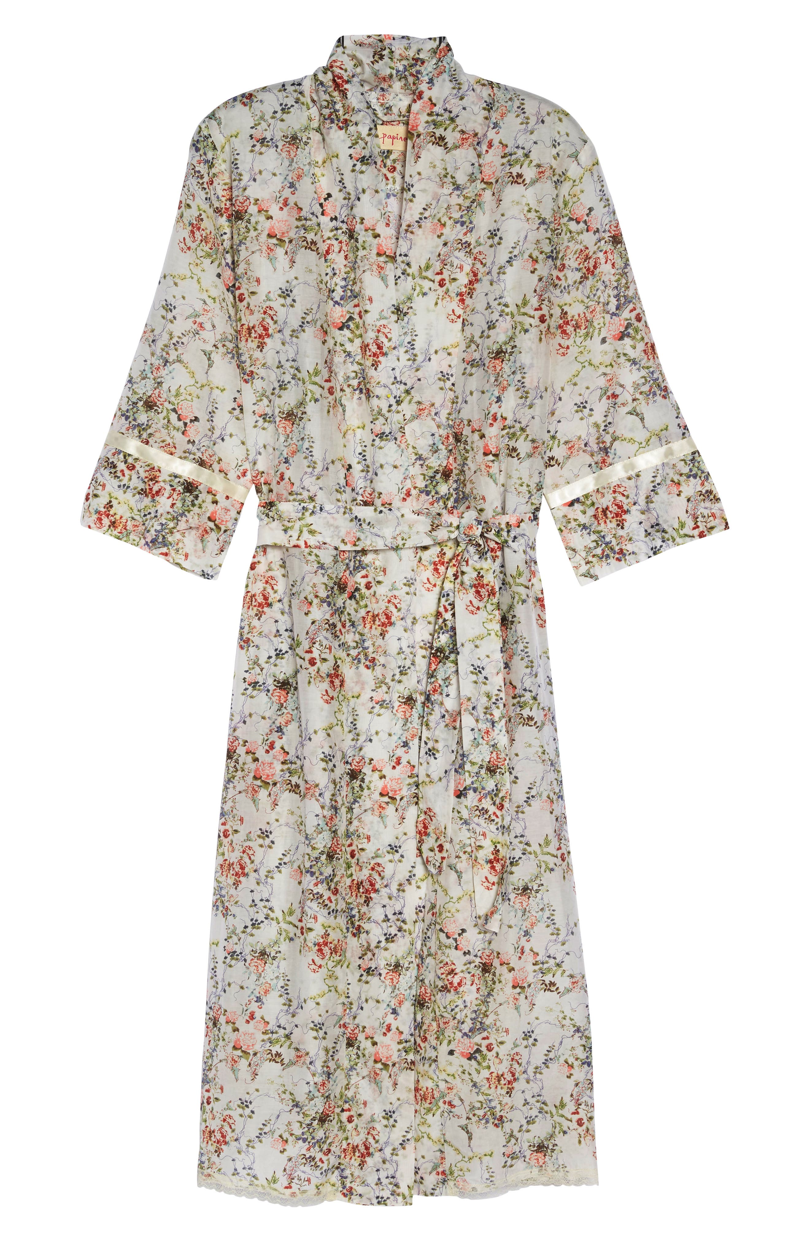 Yolly Floral Cotton & Silk Robe,                             Alternate thumbnail 4, color,                             Ivory Floral