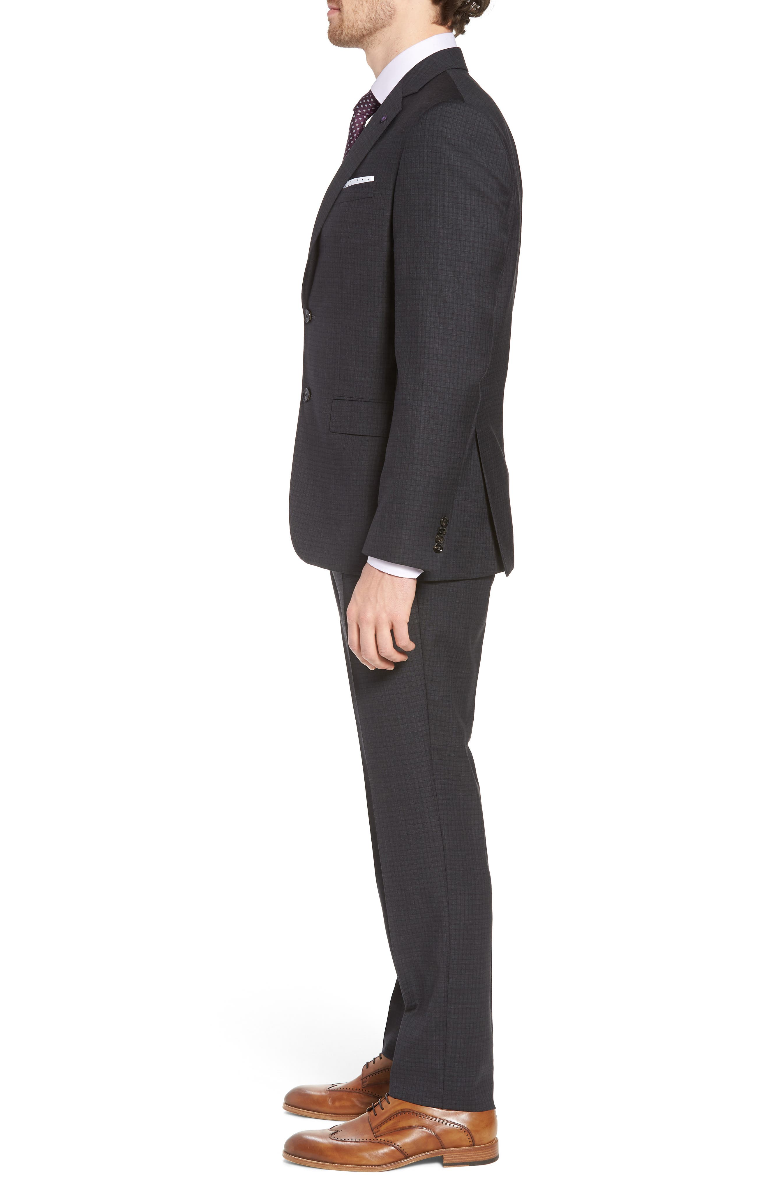 Jay Trim Fit Check Wool Suit,                             Alternate thumbnail 3, color,                             Charcoal