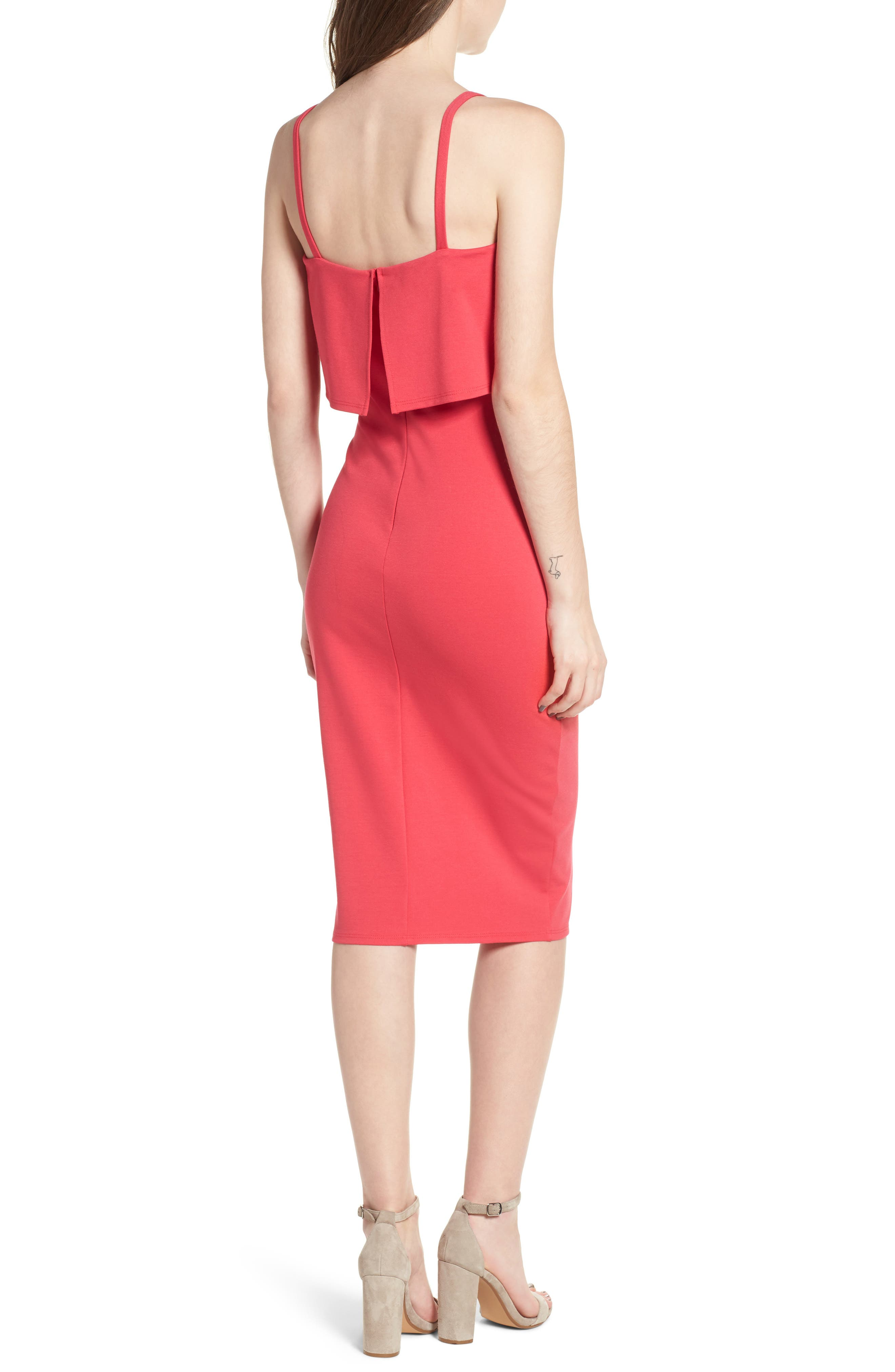 Popover Midi Body-Con Dress,                             Alternate thumbnail 2, color,                             Hibiscus