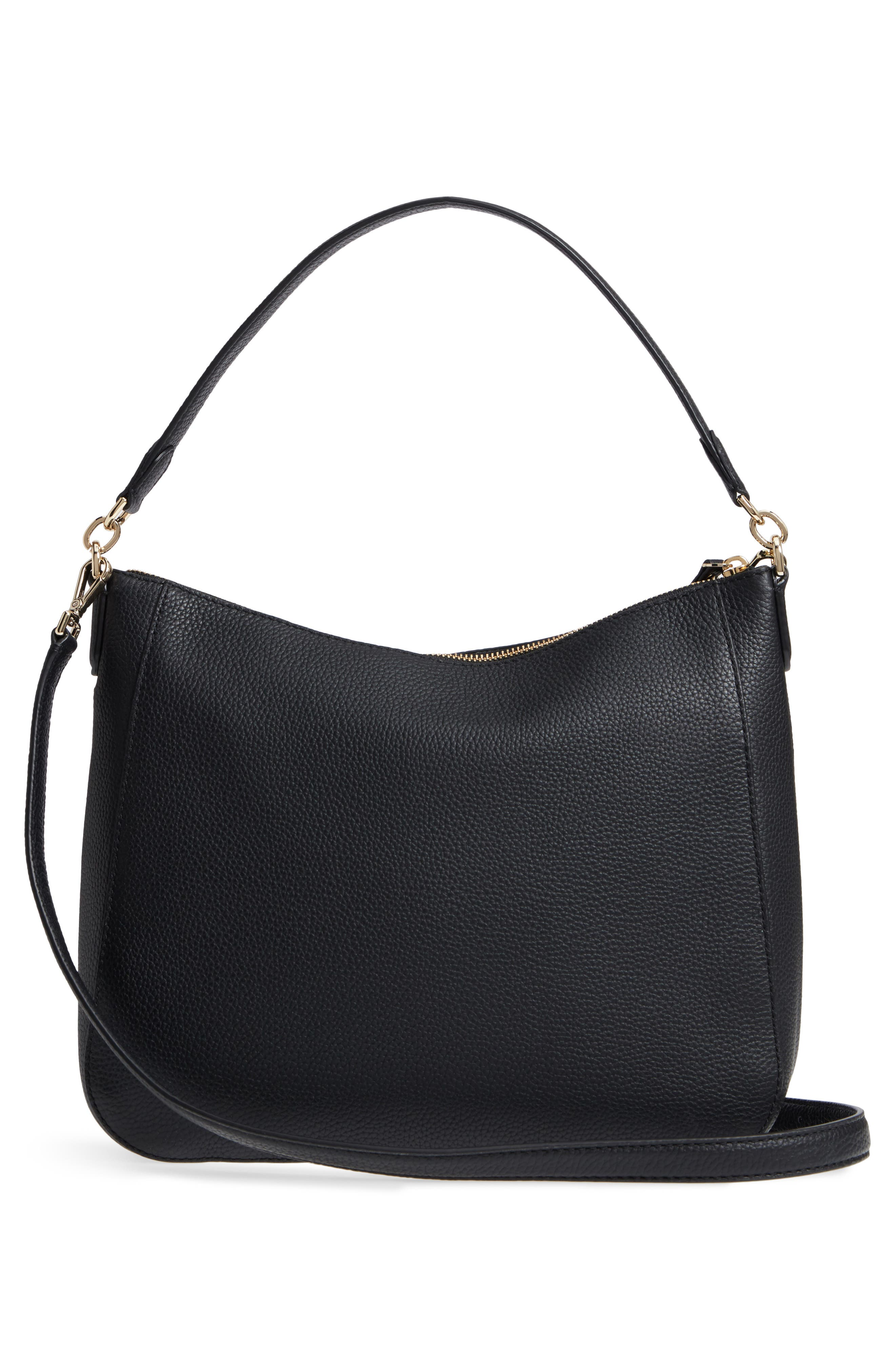 trent hill - quincy leather hobo,                             Alternate thumbnail 3, color,                             Black