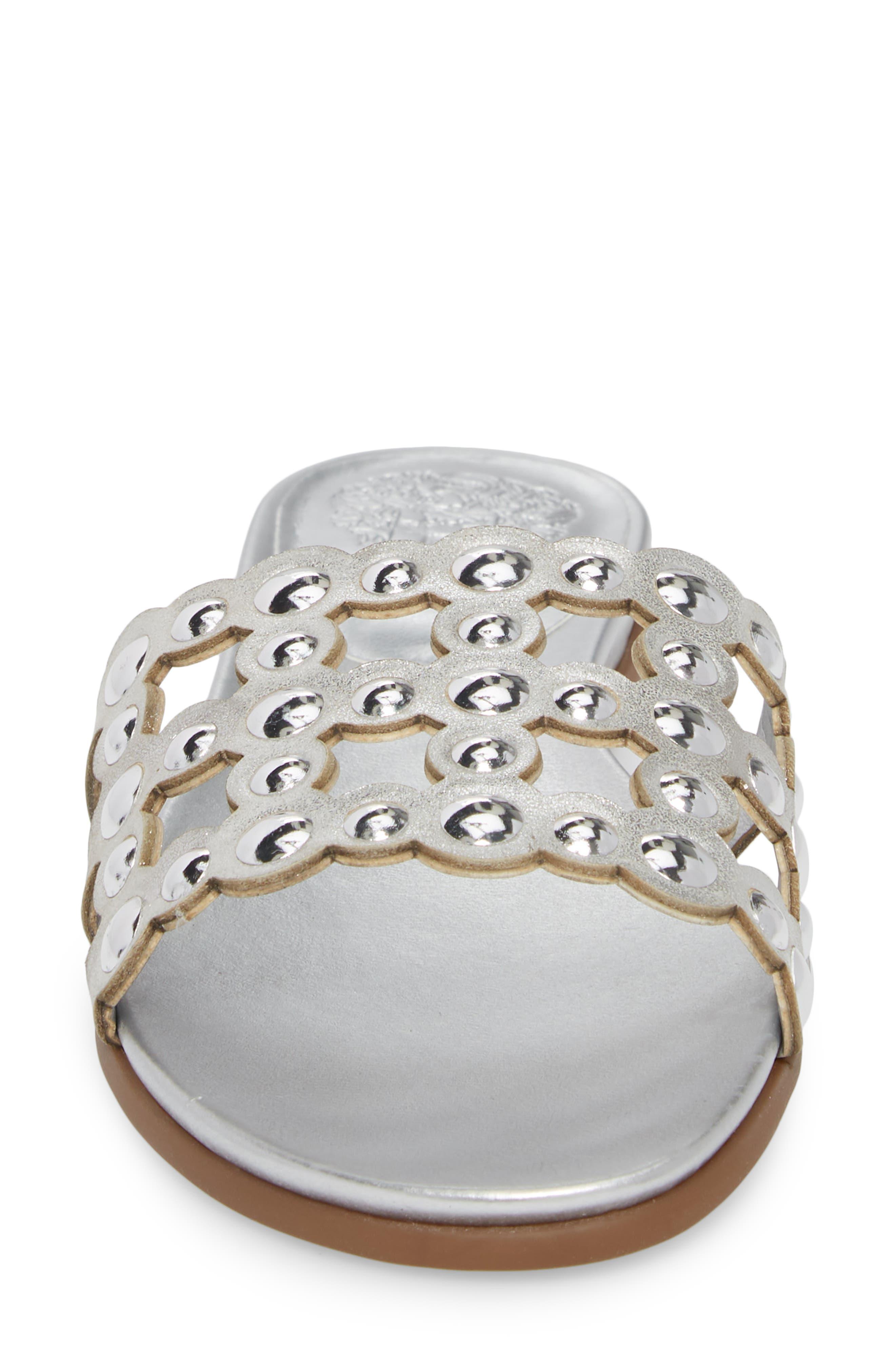 Ellanna Studded Slide Sandal,                             Alternate thumbnail 4, color,                             Gleaming Silver Leather