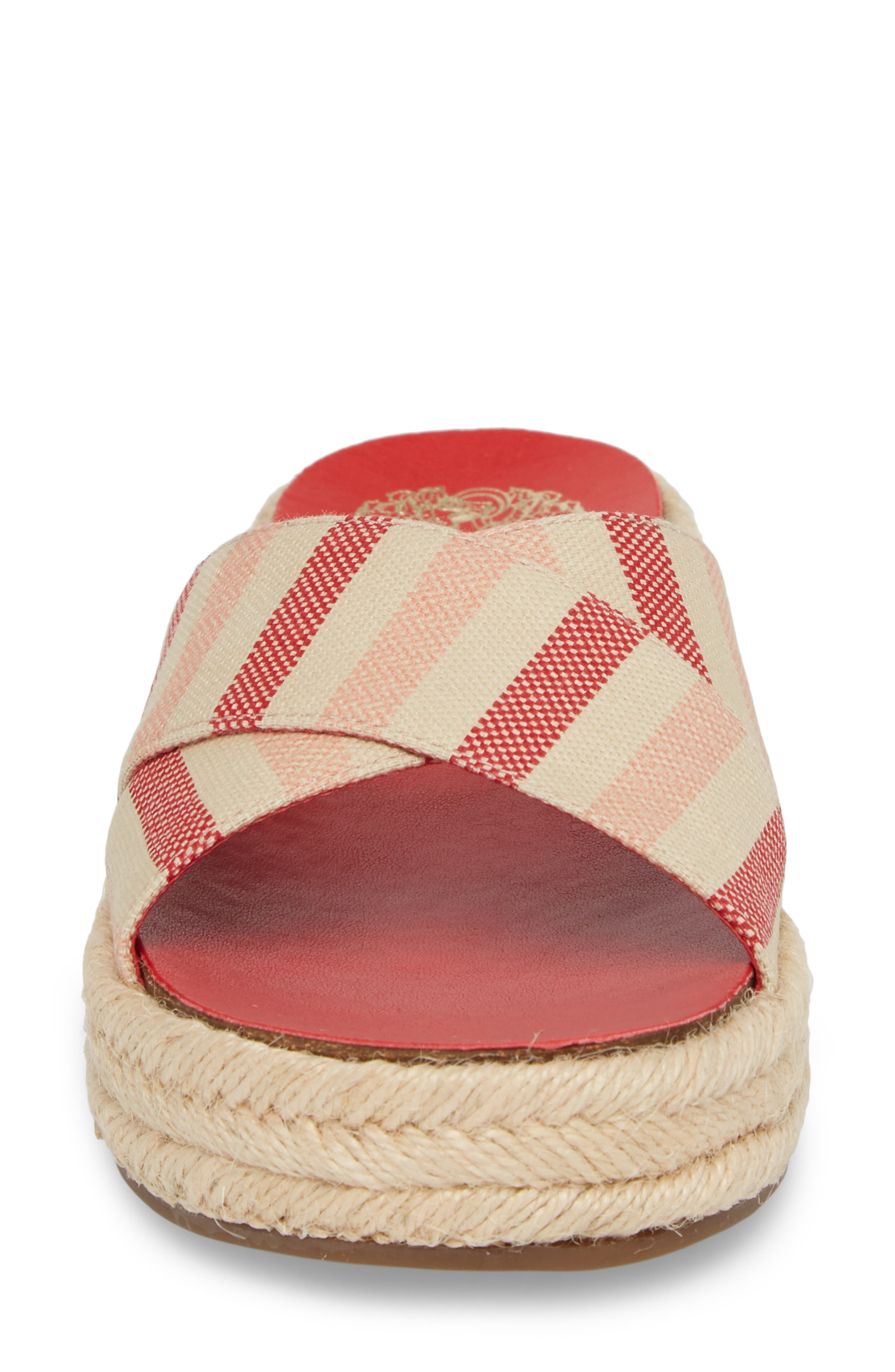 Carran Platform Sandal,                             Alternate thumbnail 4, color,                             Red Hot Rio Stripe Canvas
