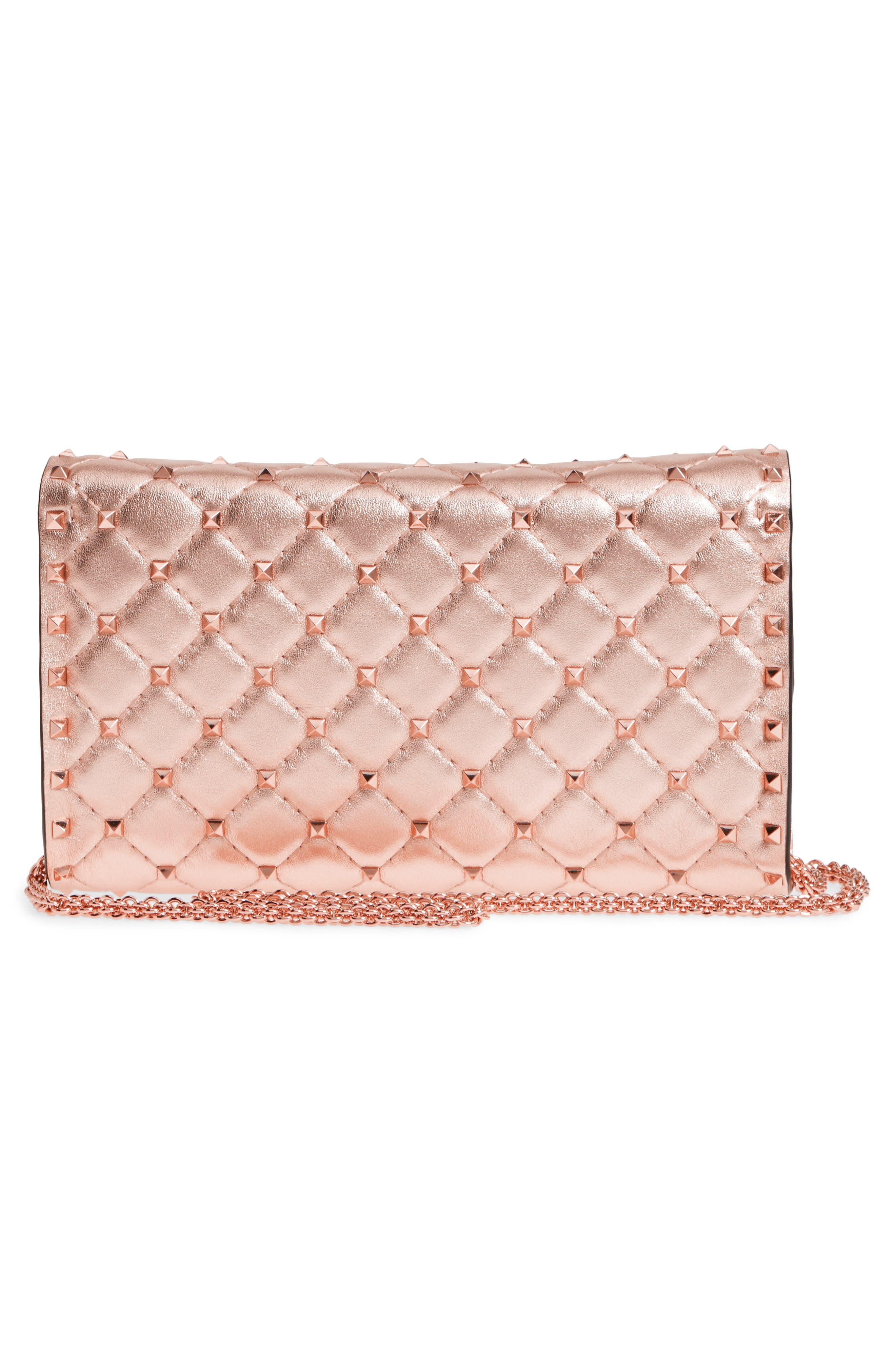Rockstud Metallic Leather Shoulder Bag,                             Alternate thumbnail 2, color,                             Rosegold
