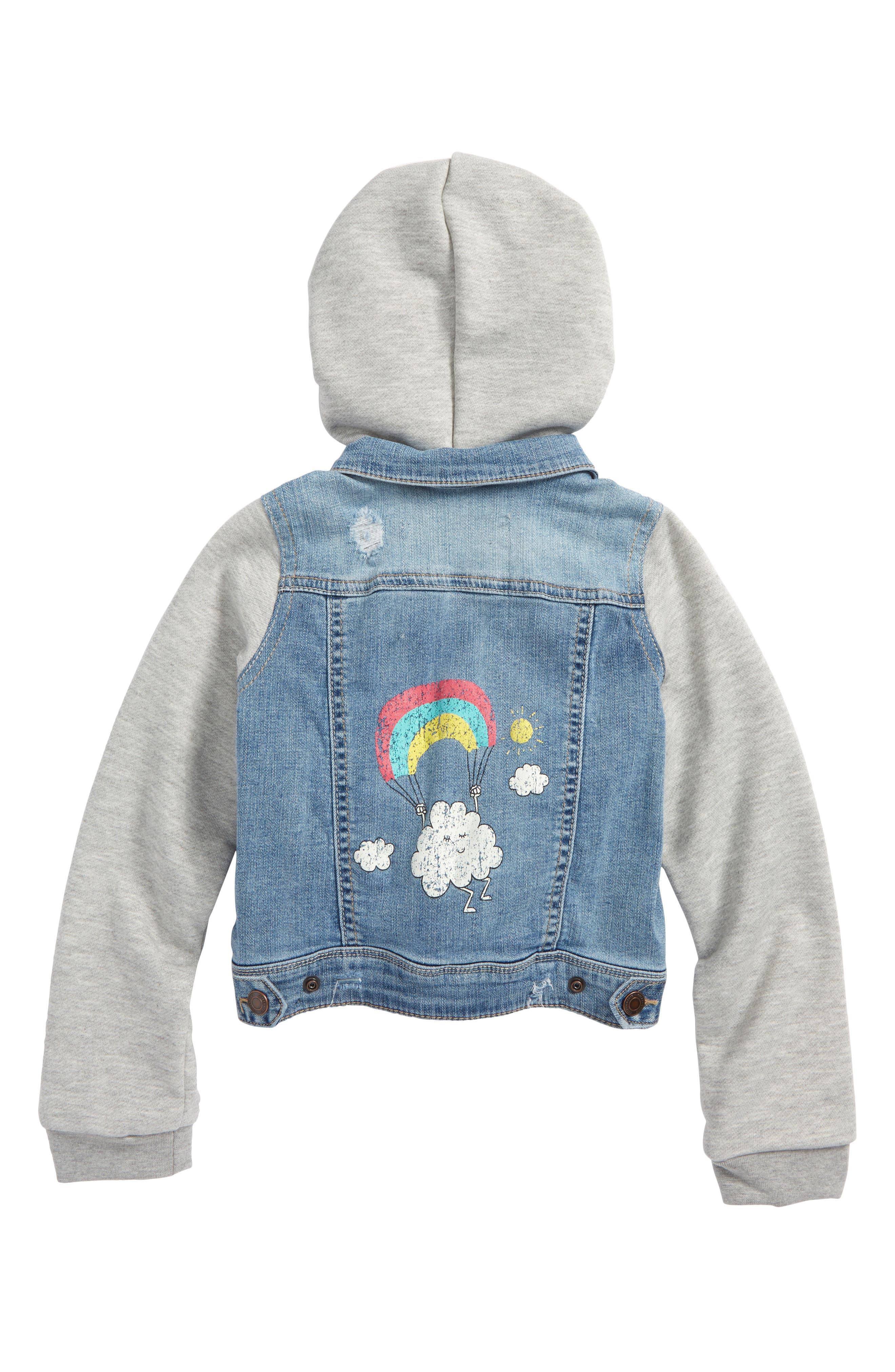 Embellished Hooded Denim Jacket,                             Alternate thumbnail 2, color,                             Bleached Out Wash