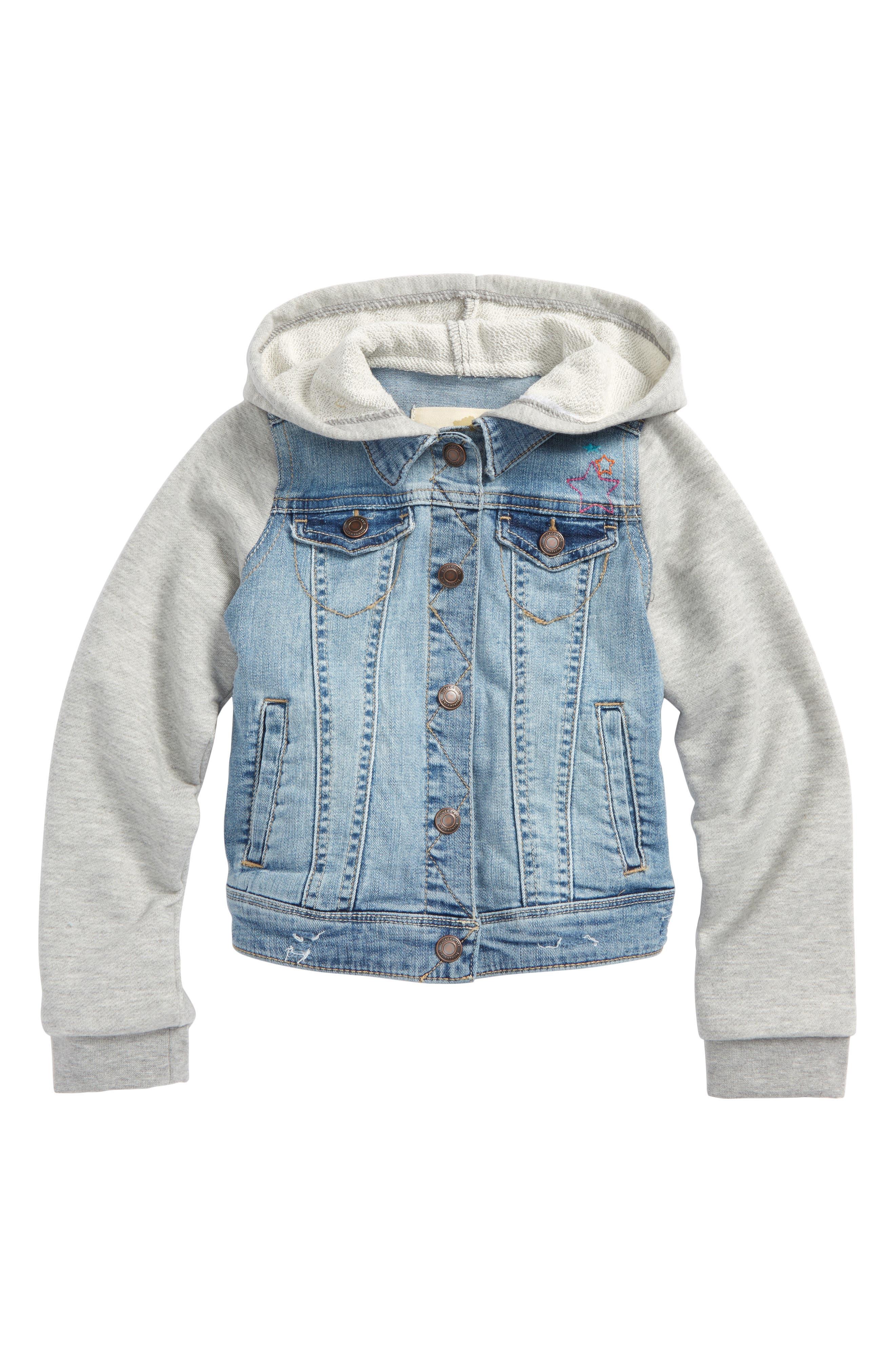 Embellished Hooded Denim Jacket,                             Main thumbnail 1, color,                             Bleached Out Wash