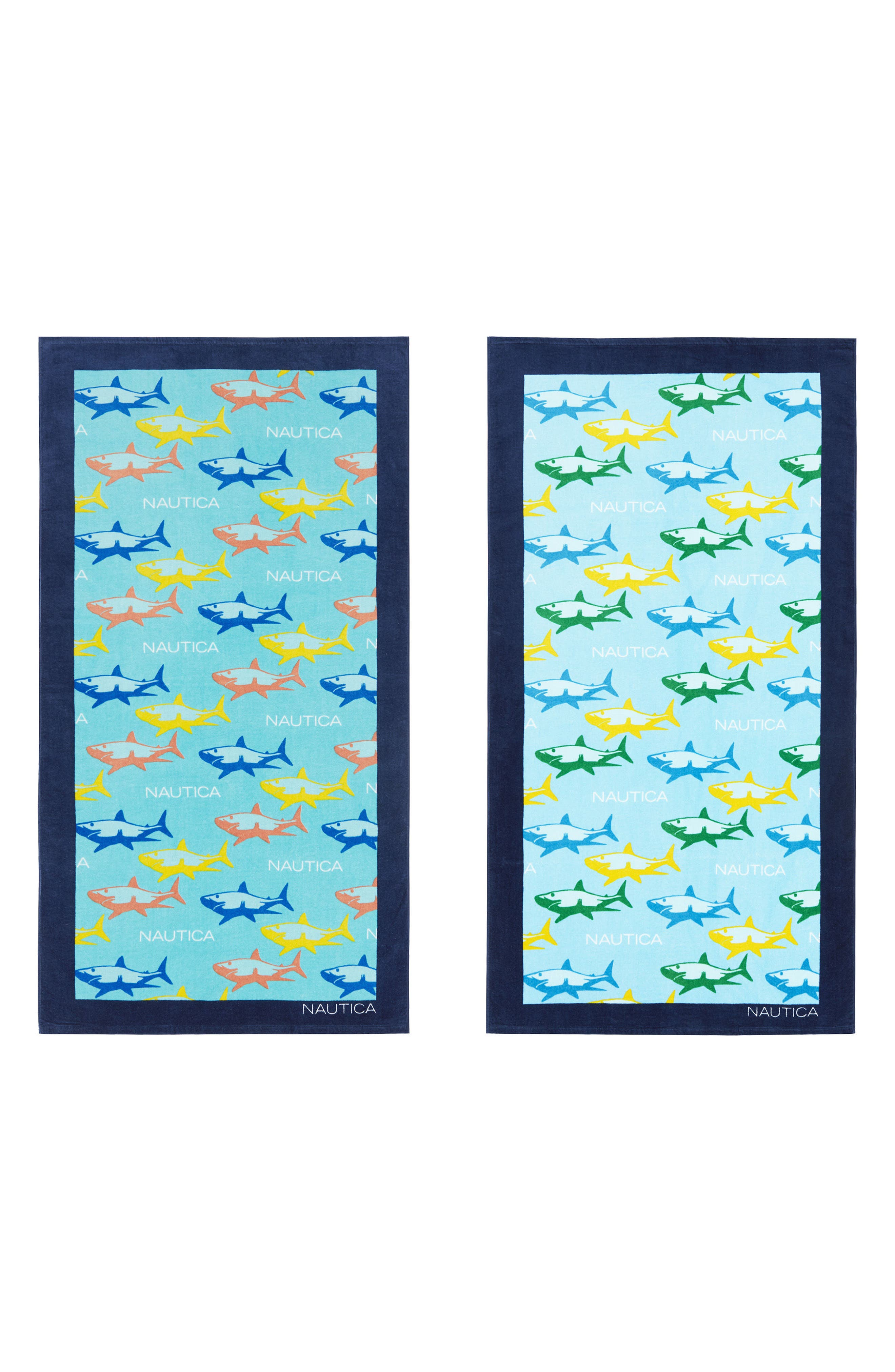 Shark Attack Set of 2 Beach Towels,                             Main thumbnail 1, color,                             Blue Multi
