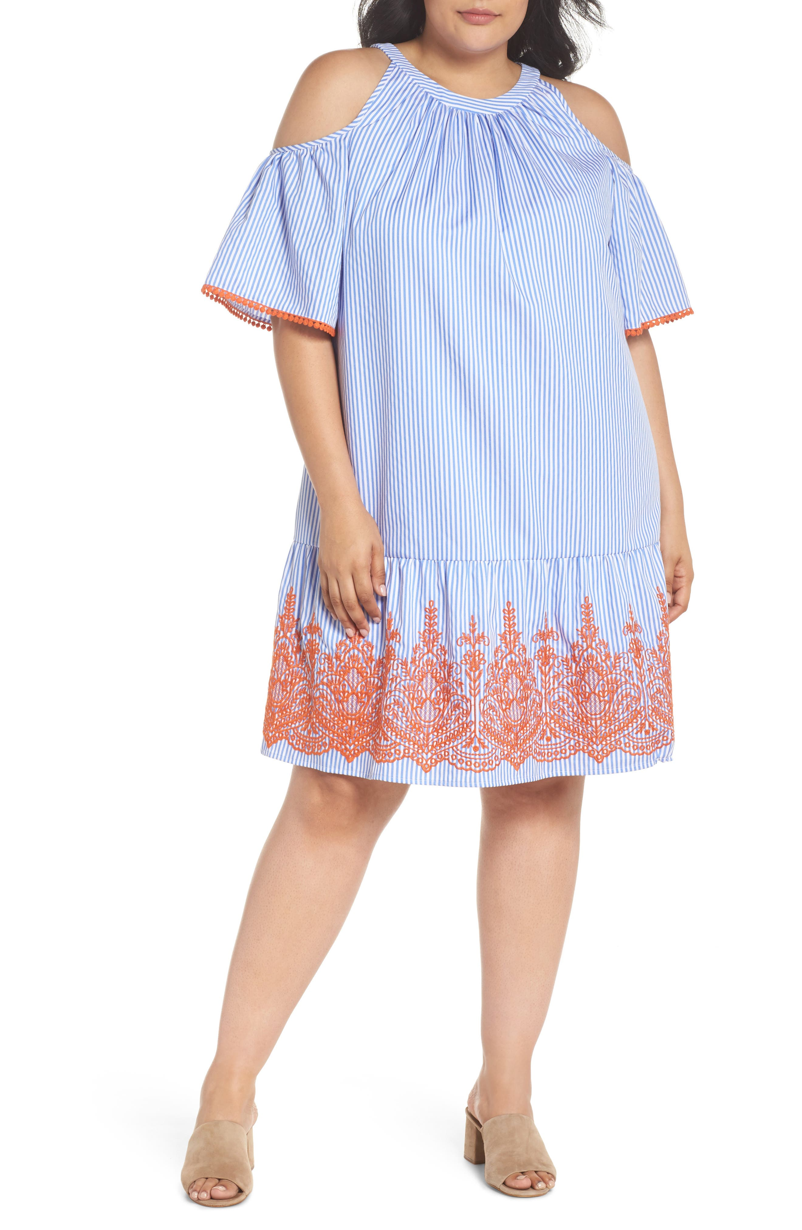 Embroidered Stripe Cold Shoulder Shift Dress,                             Main thumbnail 1, color,                             Blue/ White/ Orange