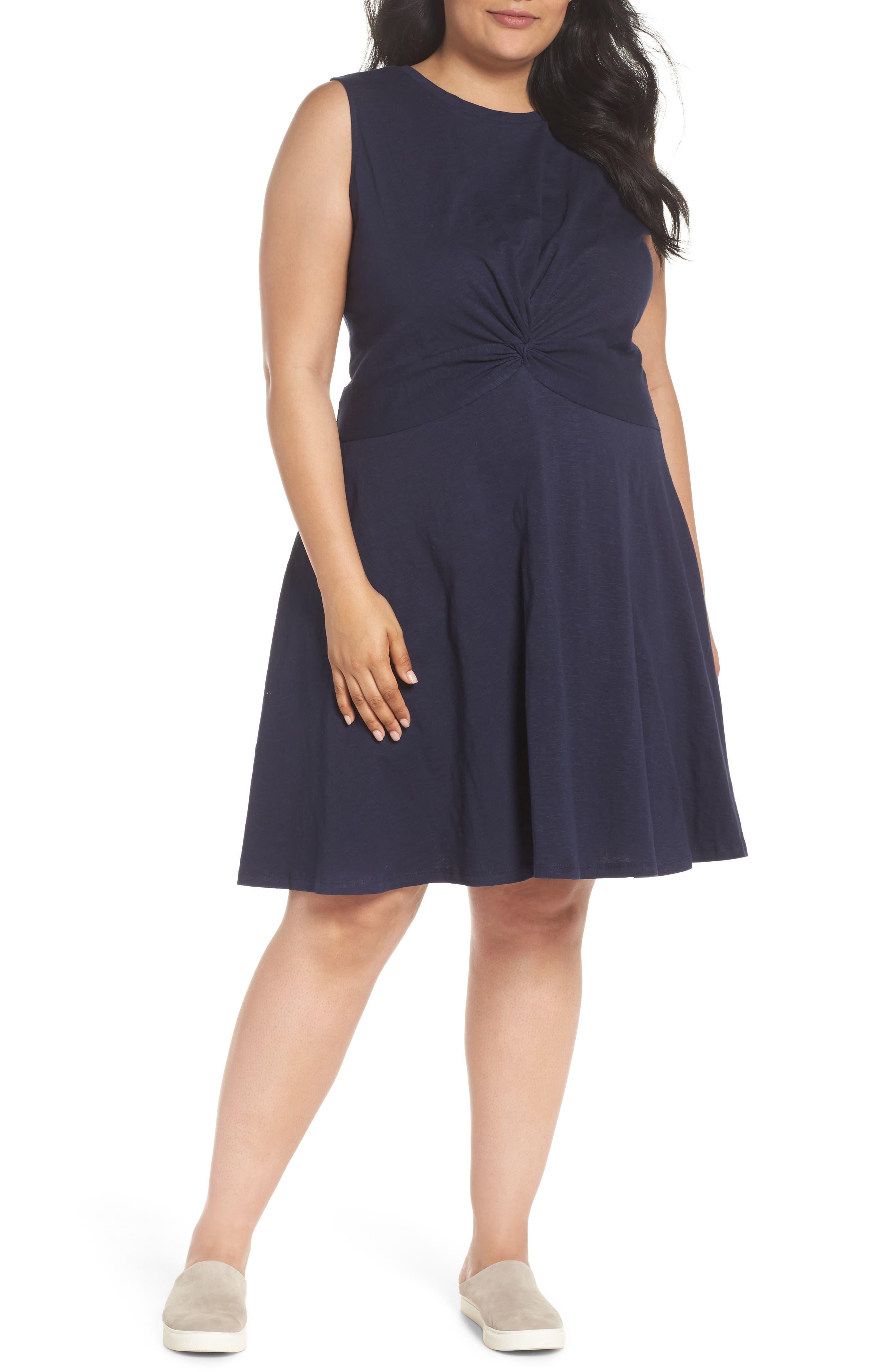 Twist Front Knit Dress,                             Main thumbnail 1, color,                             Navy Peacoat