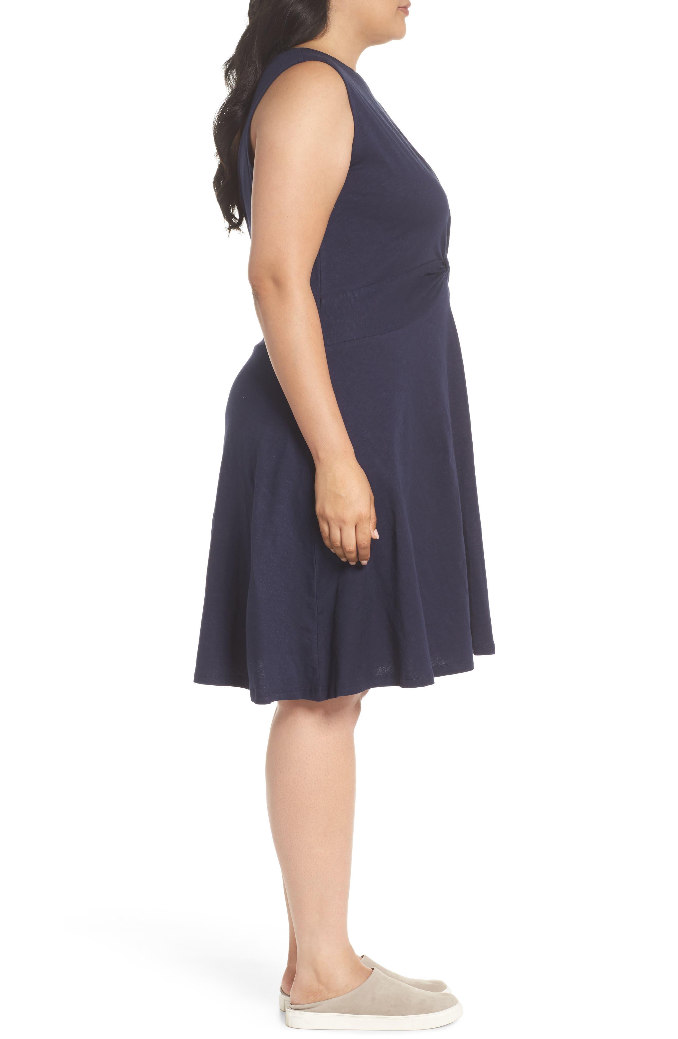 Twist Front Knit Dress,                             Alternate thumbnail 3, color,                             Navy Peacoat