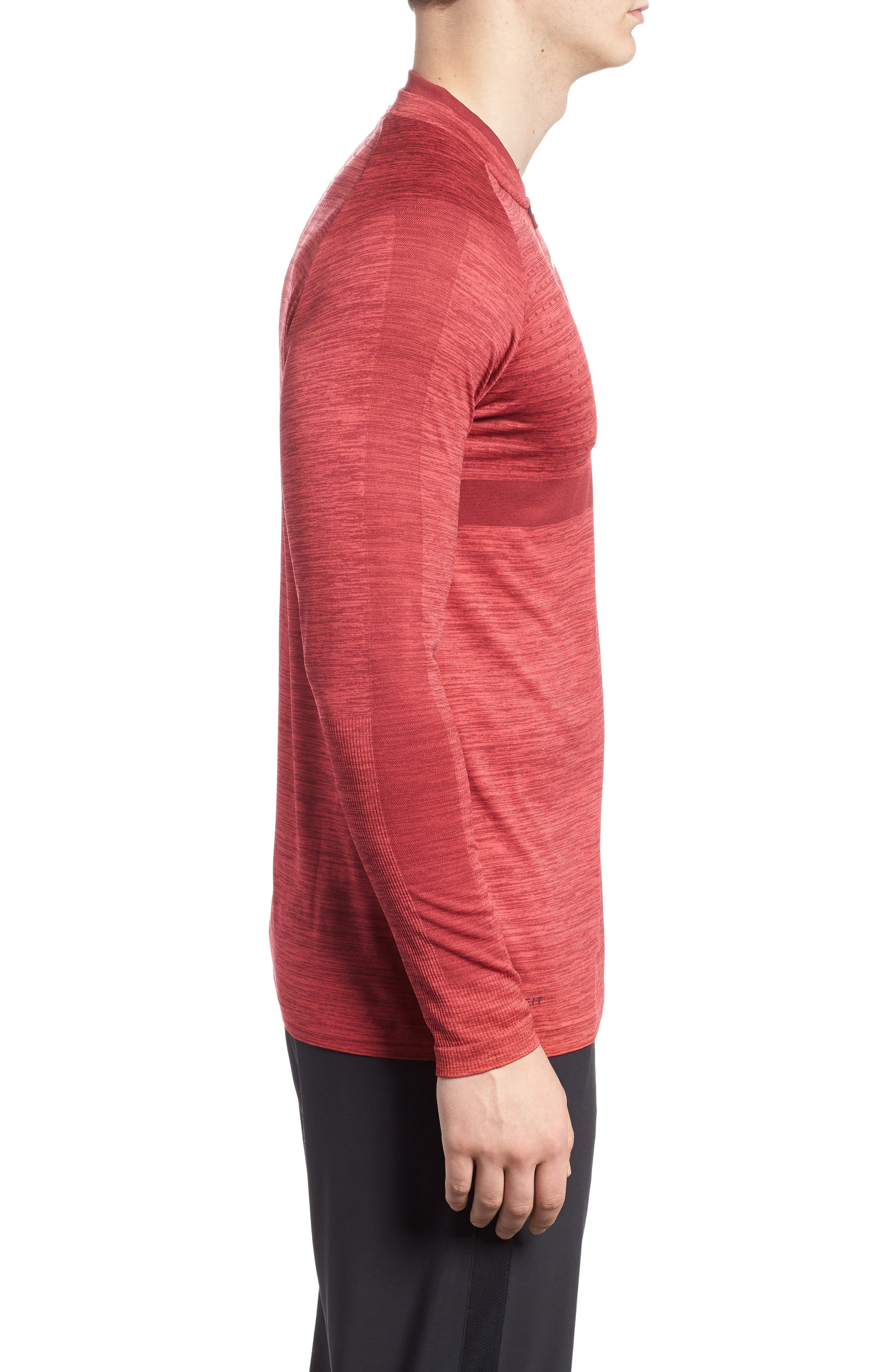 Dry Seamless Half Zip Golf Pullover,                             Alternate thumbnail 3, color,                             Tropical Pink/ Team Red/ Black
