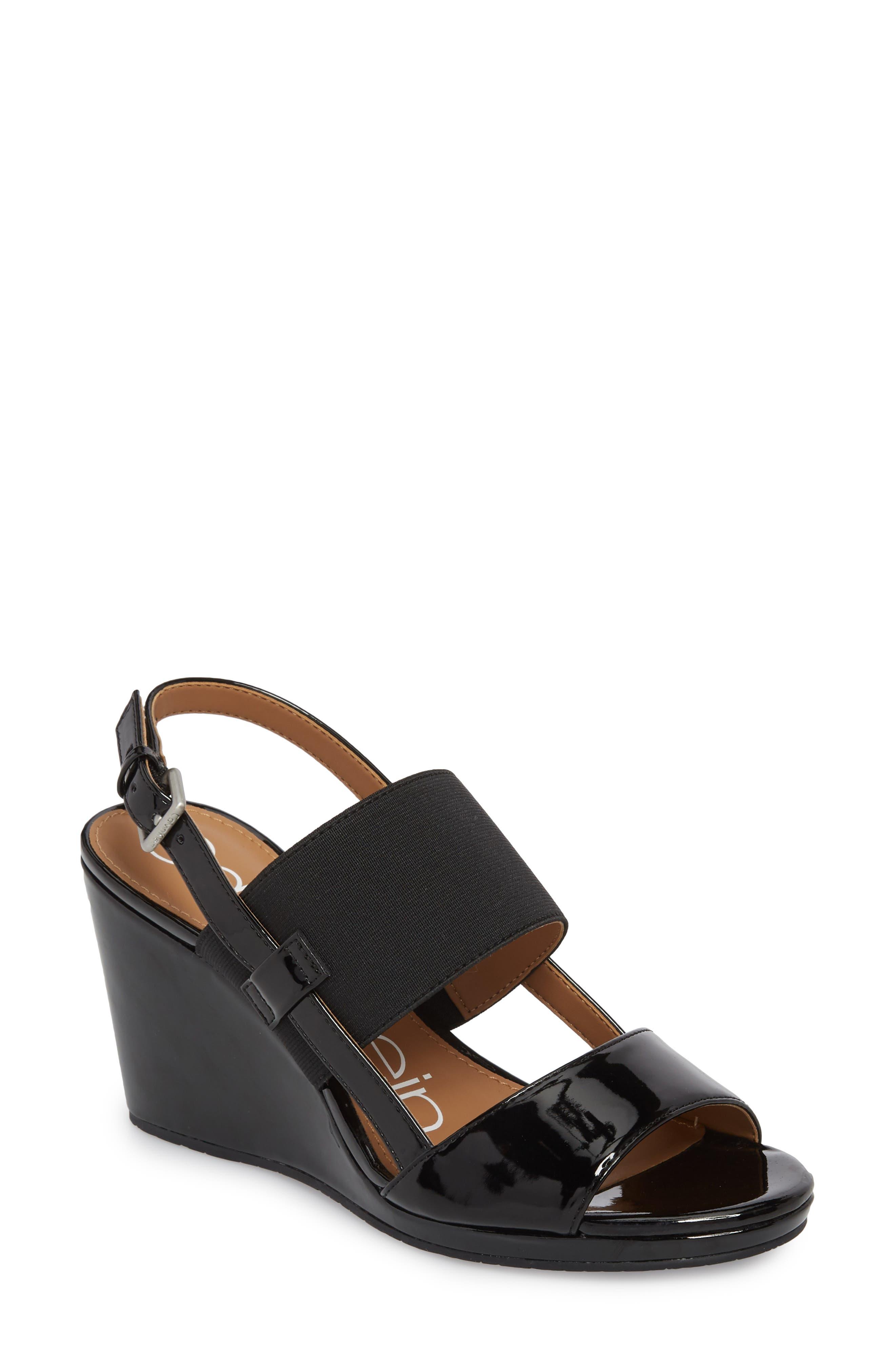 Bethan Wedge Sandal,                         Main,                         color, Black Patent