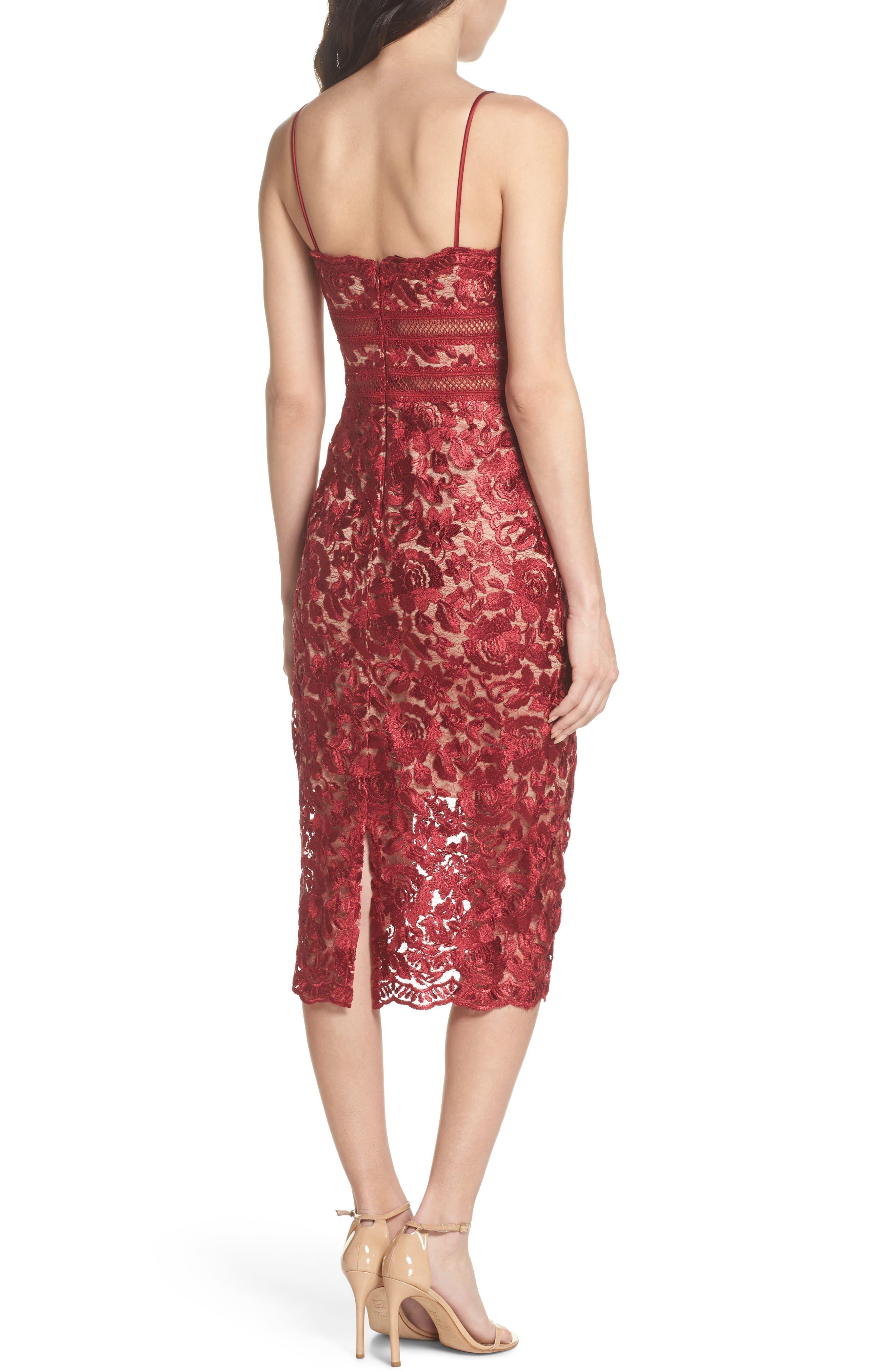 Lace Midi Dress,                             Alternate thumbnail 2, color,                             Red/ Mocha
