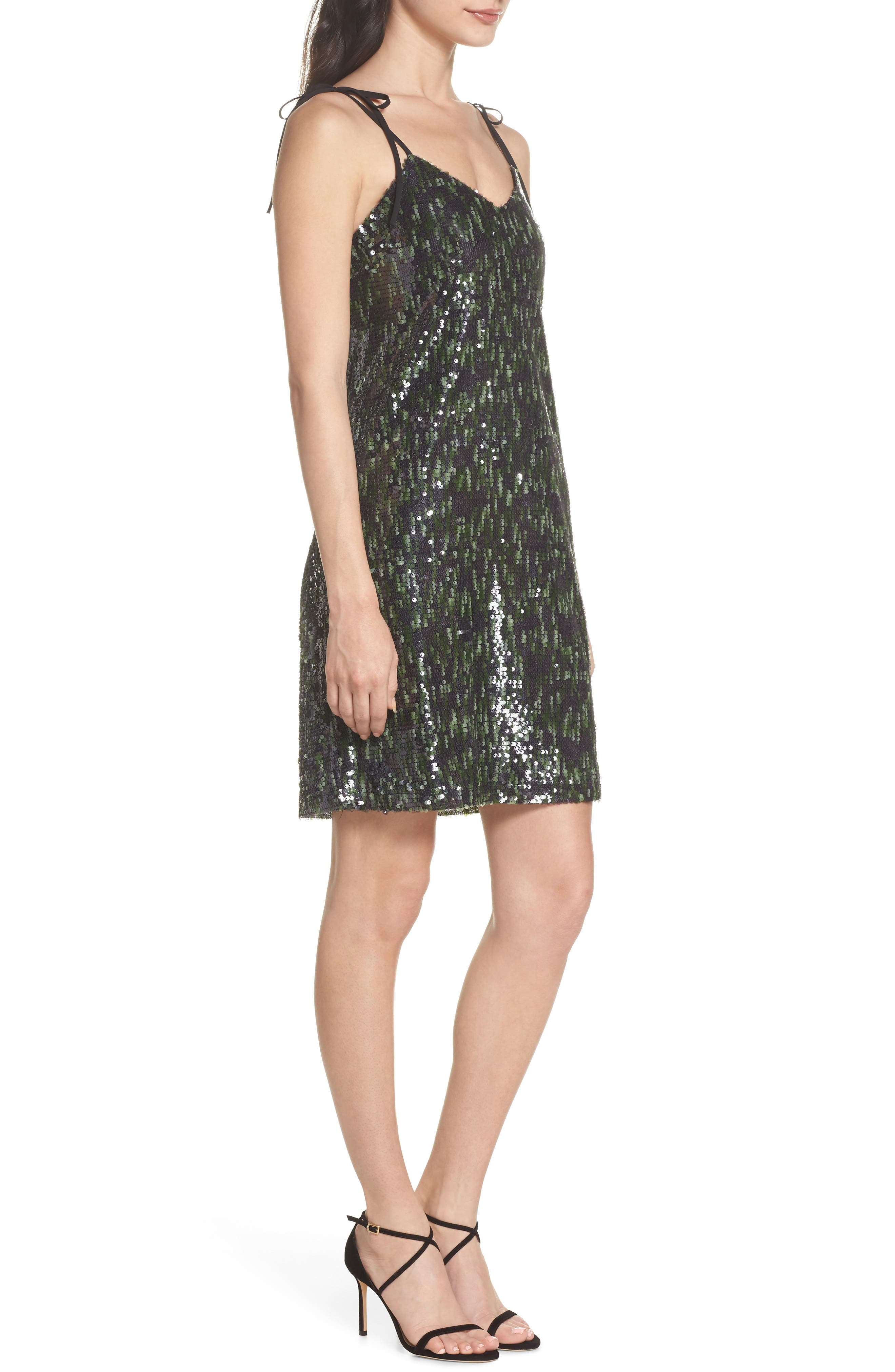 Camo Sequin Dress,                             Alternate thumbnail 3, color,                             Black/ Green