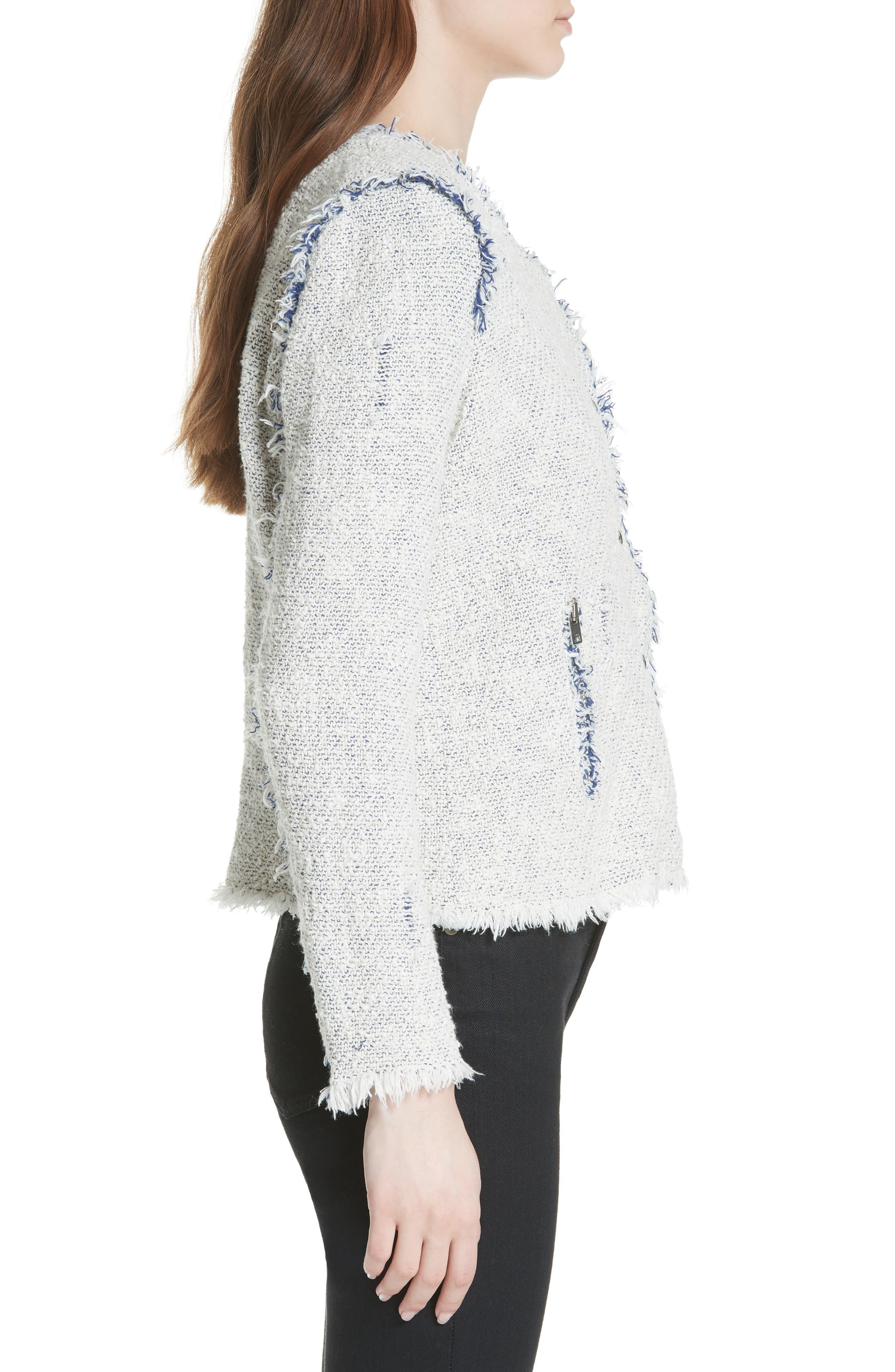'Agnette' Tweed Jacket,                             Alternate thumbnail 3, color,                             White/ Blue