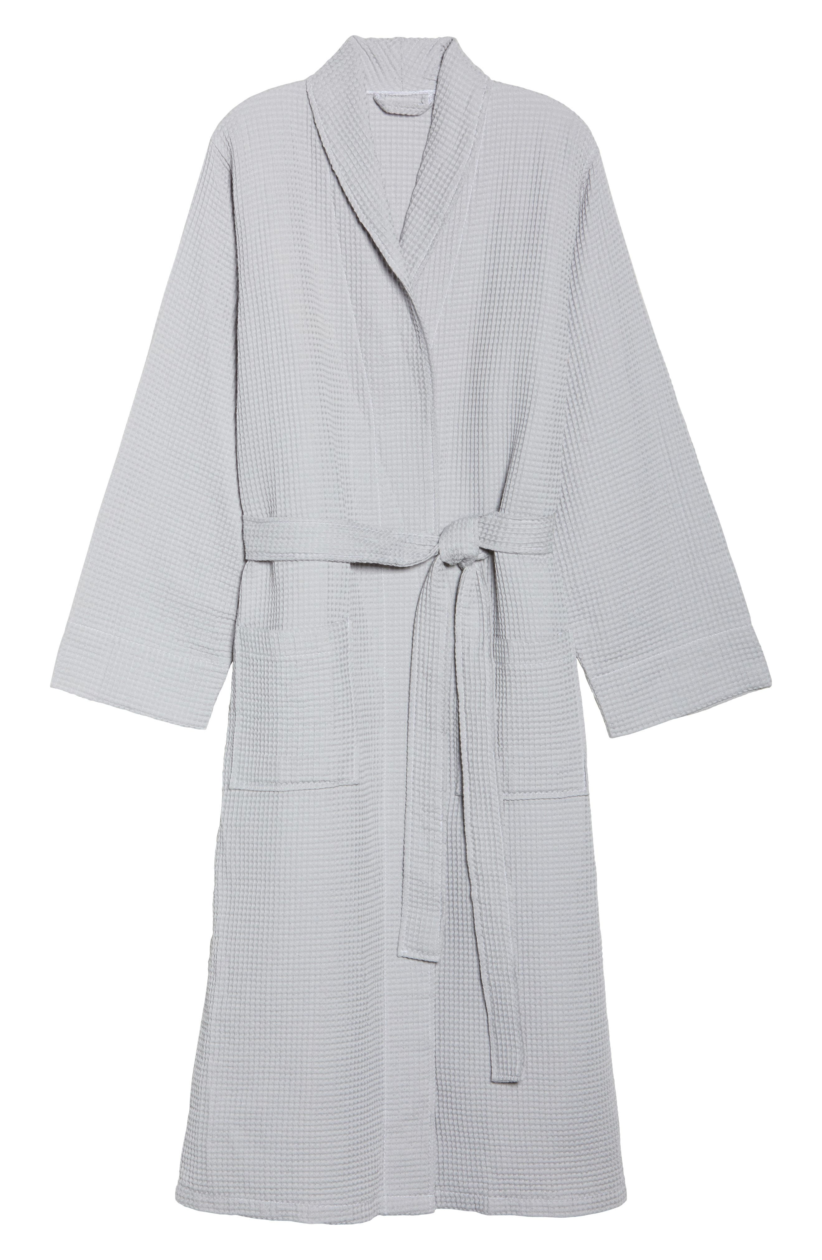 Waffle Knit Cotton Robe,                             Alternate thumbnail 4, color,                             Dove Grey