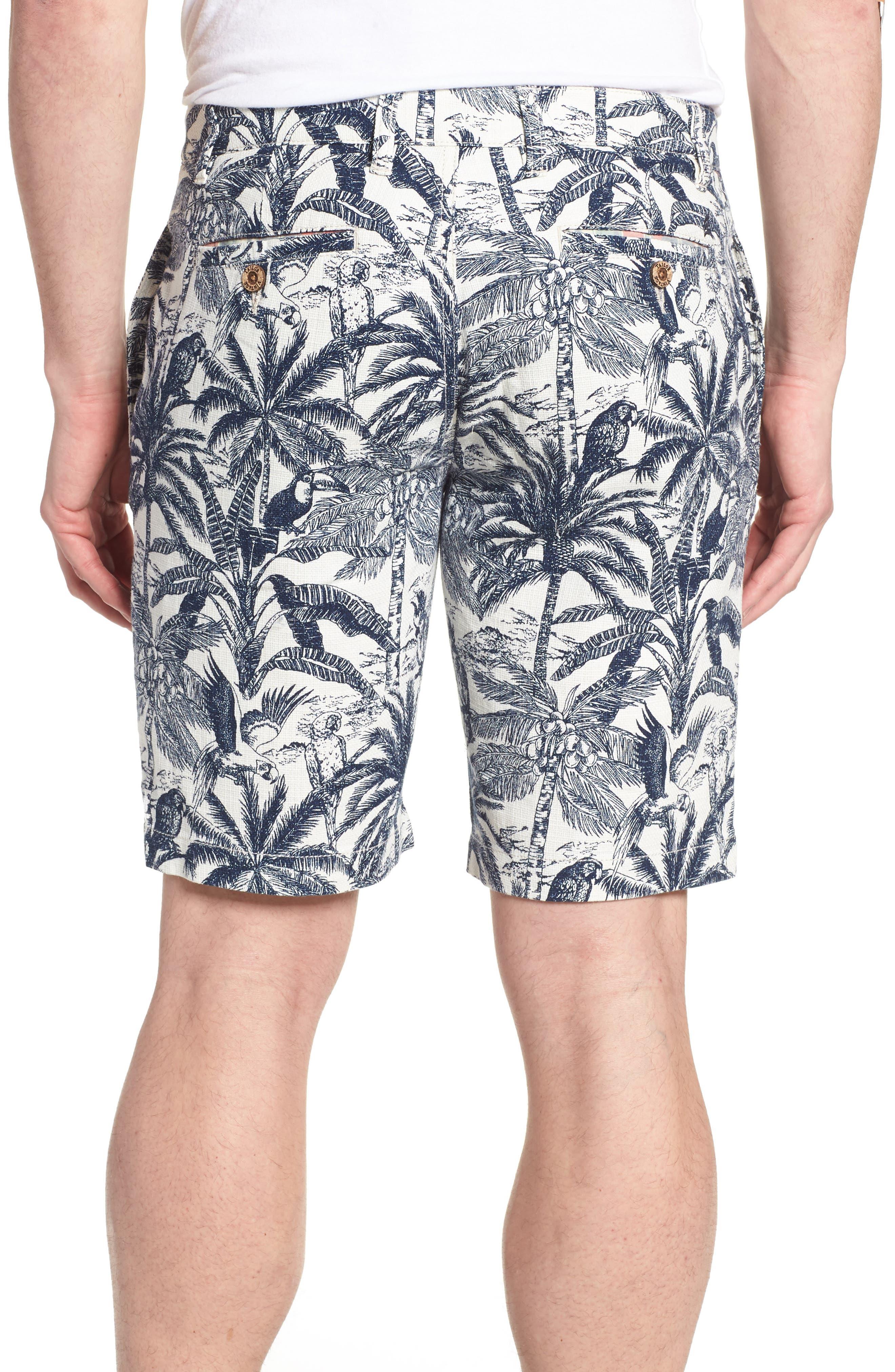 Cotton & Linen Shorts,                             Alternate thumbnail 2, color,                             White Palm Parrot Print