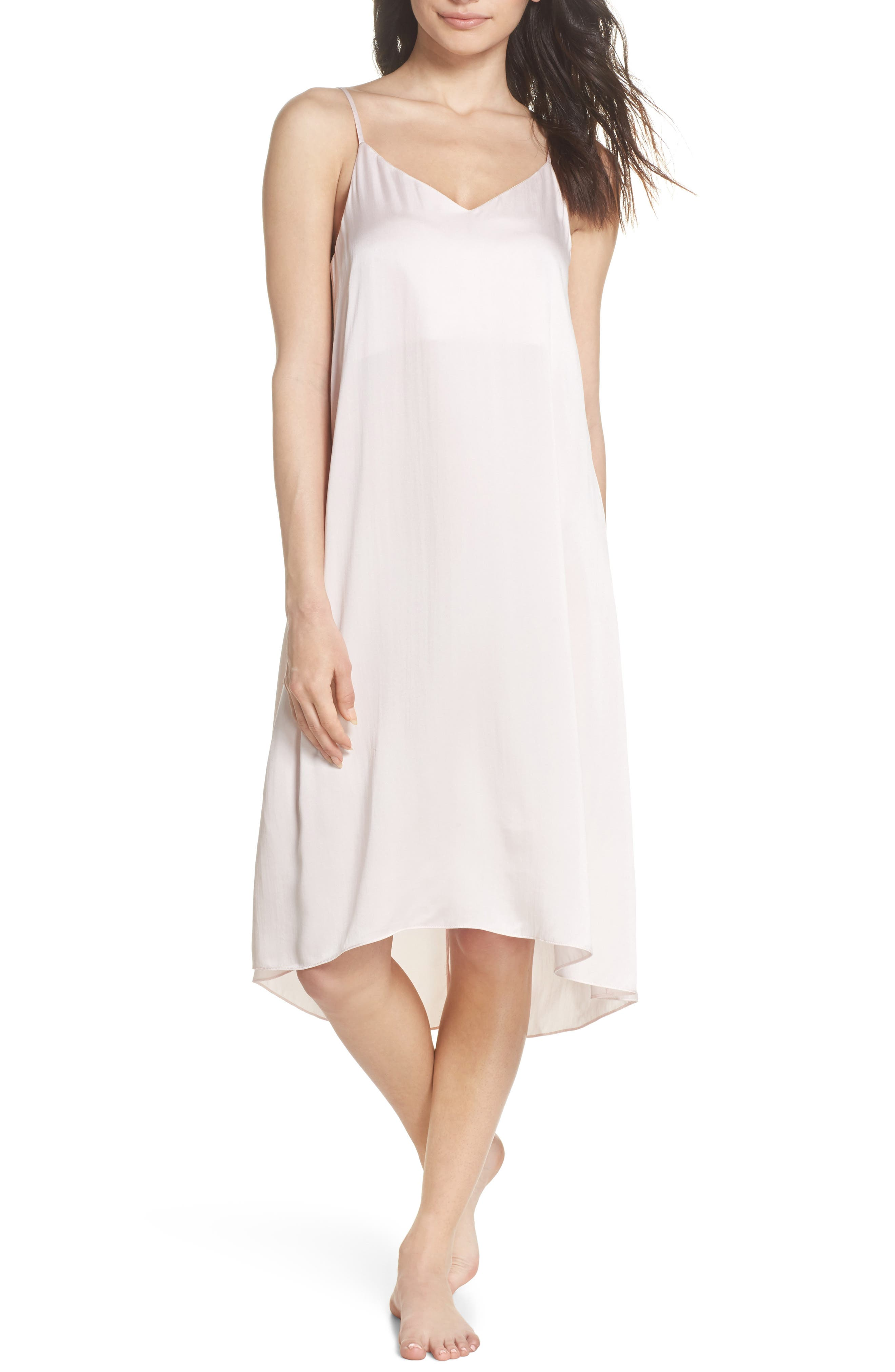 Silk Nightgown,                         Main,                         color, Ice Pink