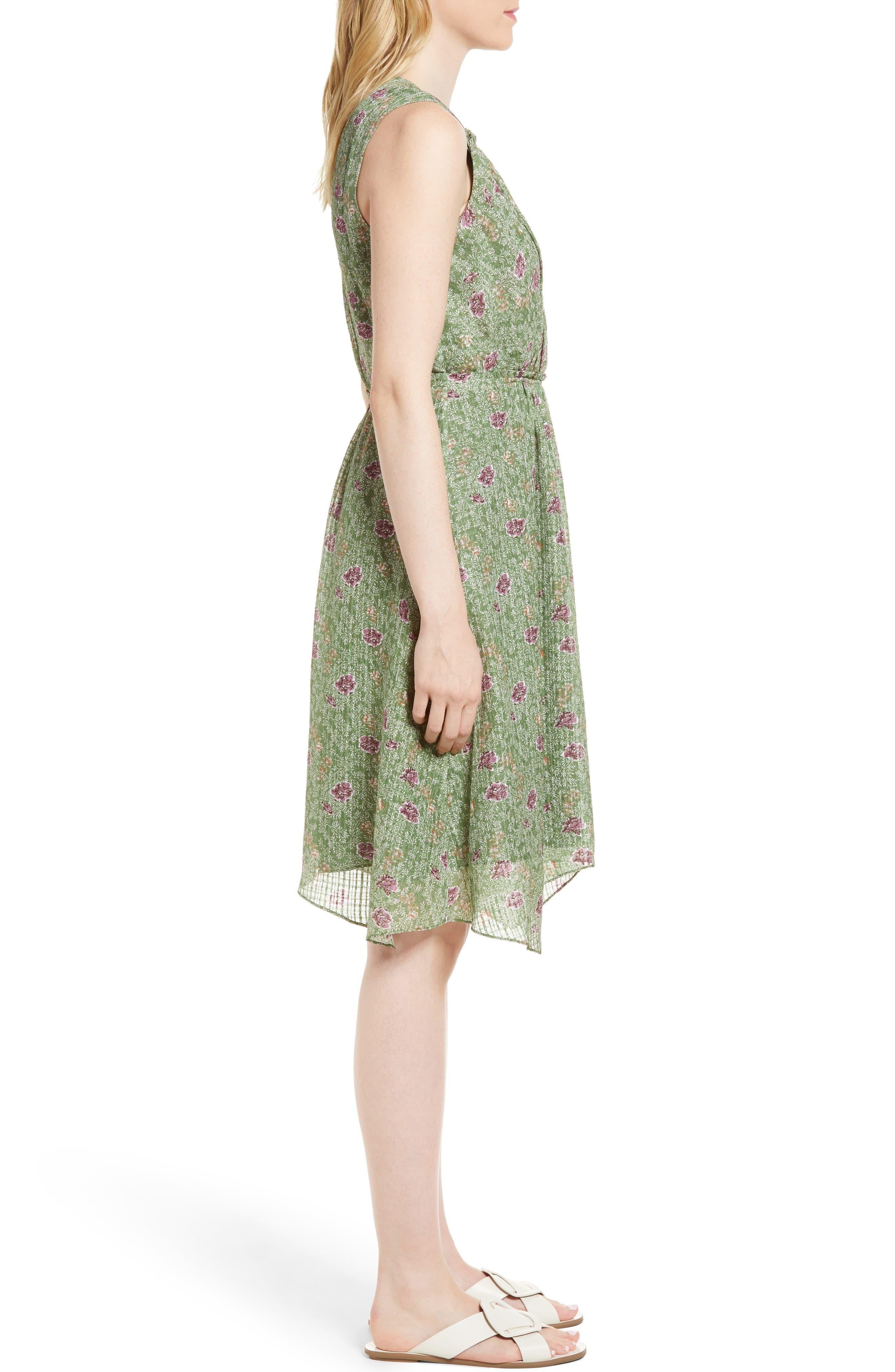 Handkerchief Hem Silk Dress,                             Alternate thumbnail 3, color,                             Green Vineyard Jakarta Floral