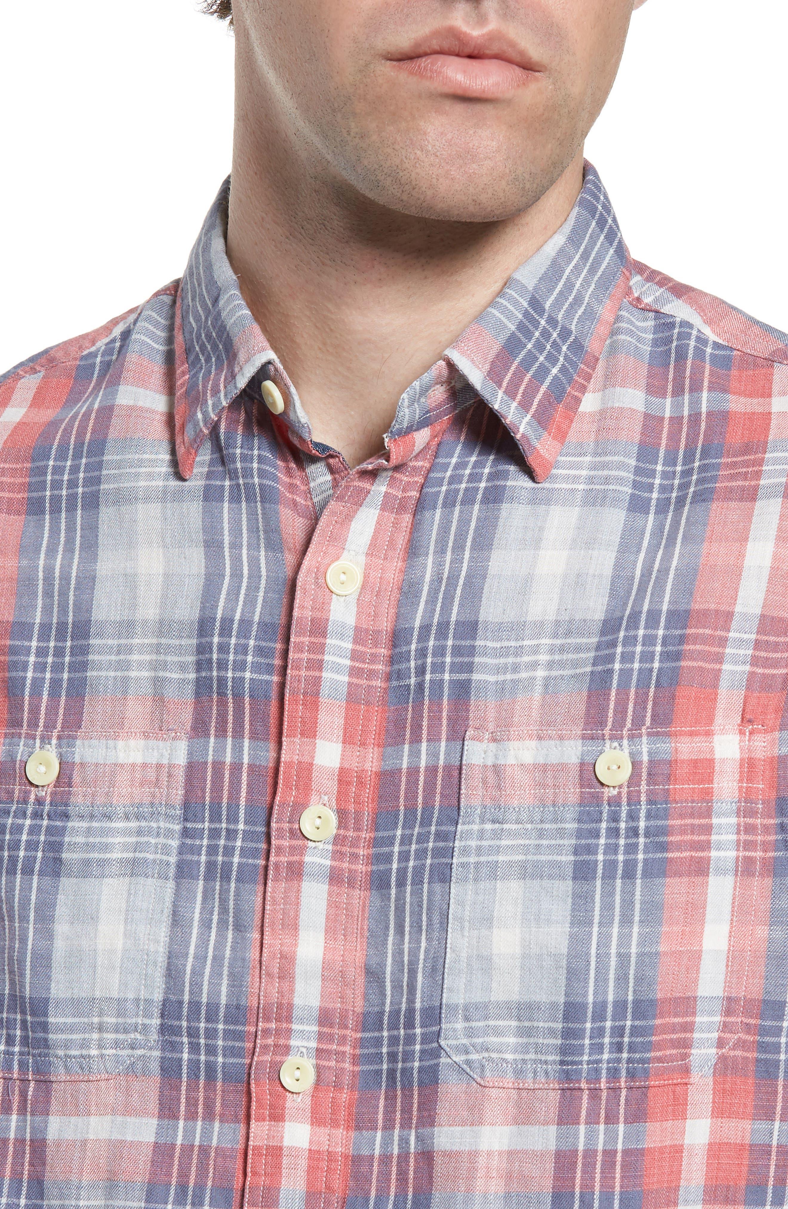 Reynolds Short Sleeve Sport Shirt,                             Alternate thumbnail 2, color,                             Red Gray Plaid
