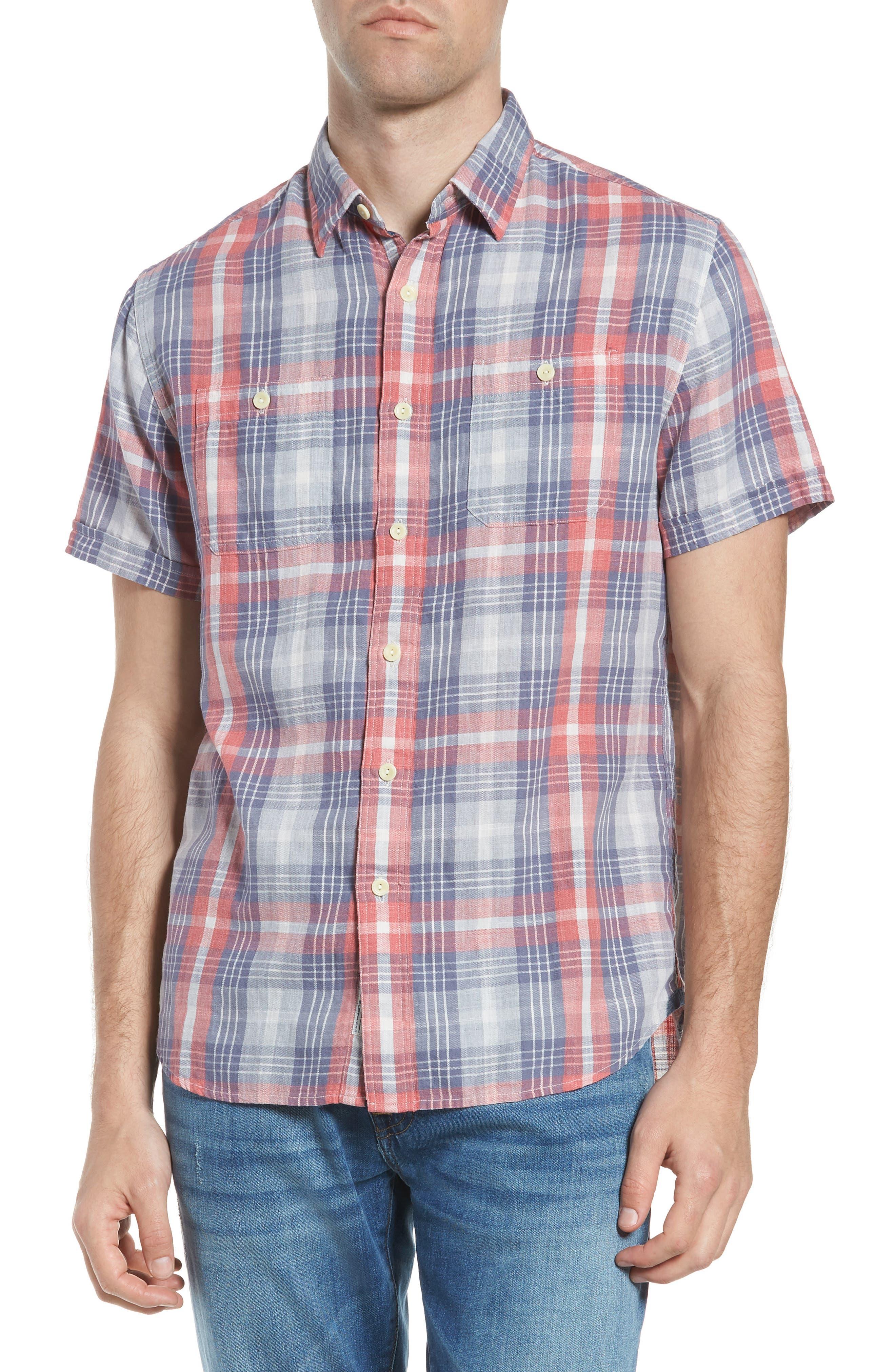 Reynolds Short Sleeve Sport Shirt,                             Main thumbnail 1, color,                             Red Gray Plaid