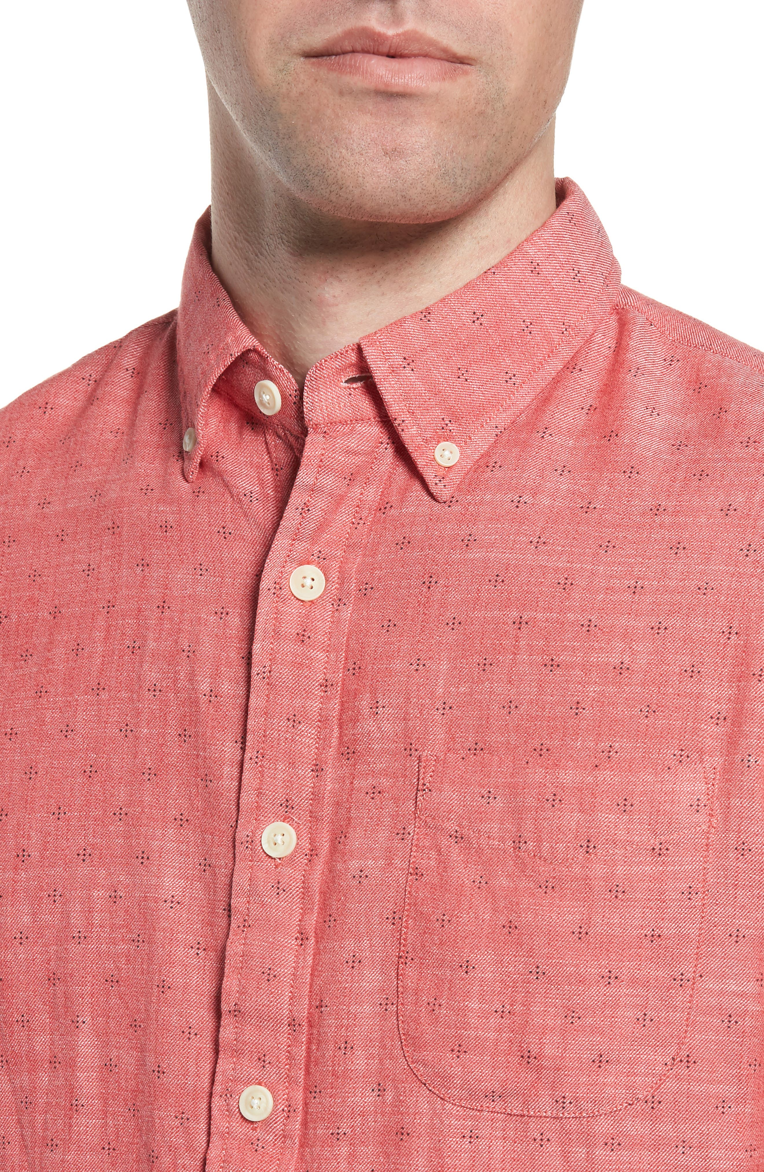 Pearson Print Short Sleeve Sport Shirt,                             Alternate thumbnail 2, color,                             Red Twill