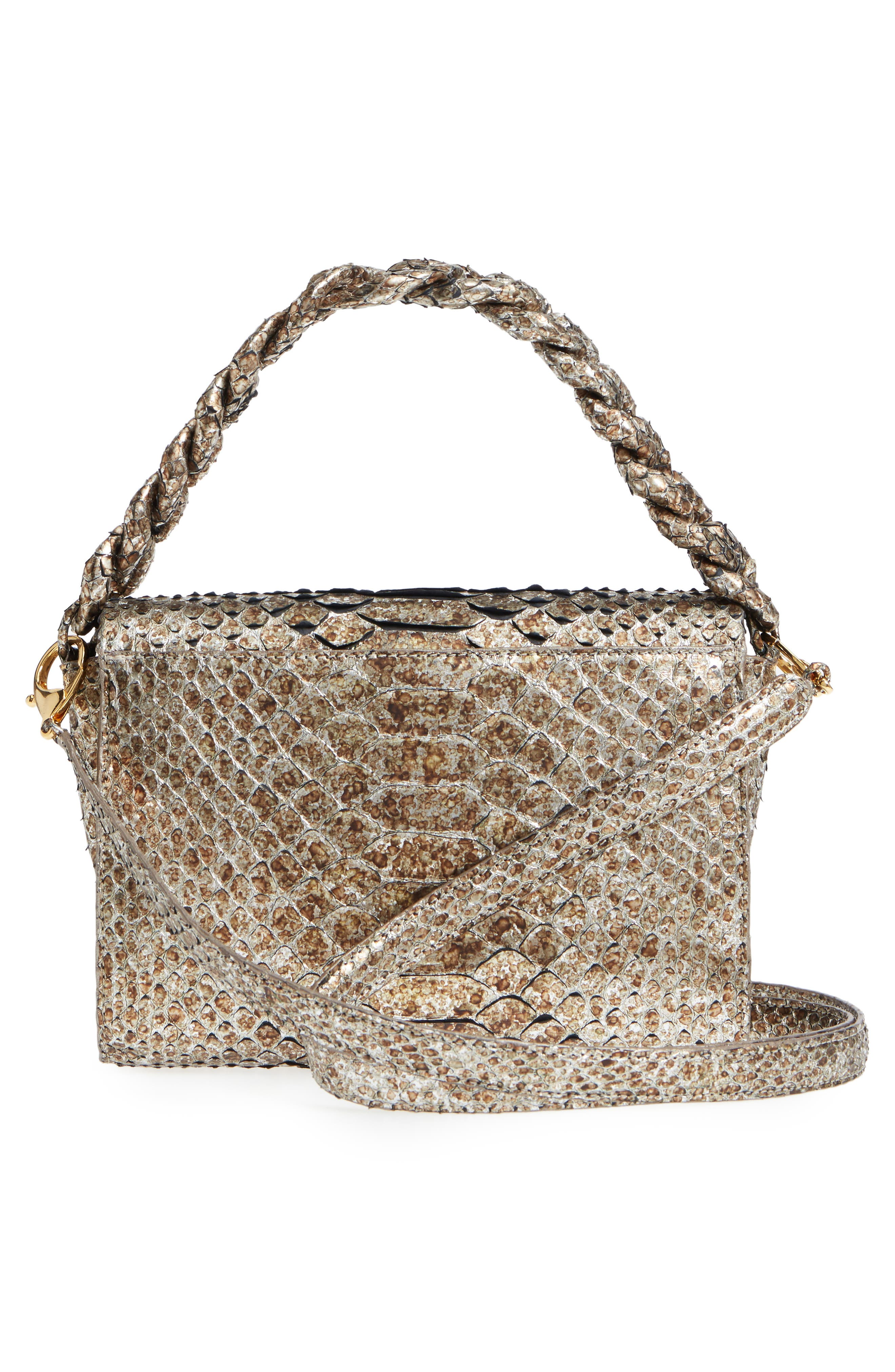 Small Carrie Genuine Crocodile Metallic Clutch,                             Alternate thumbnail 2, color,                             Metallic Gold