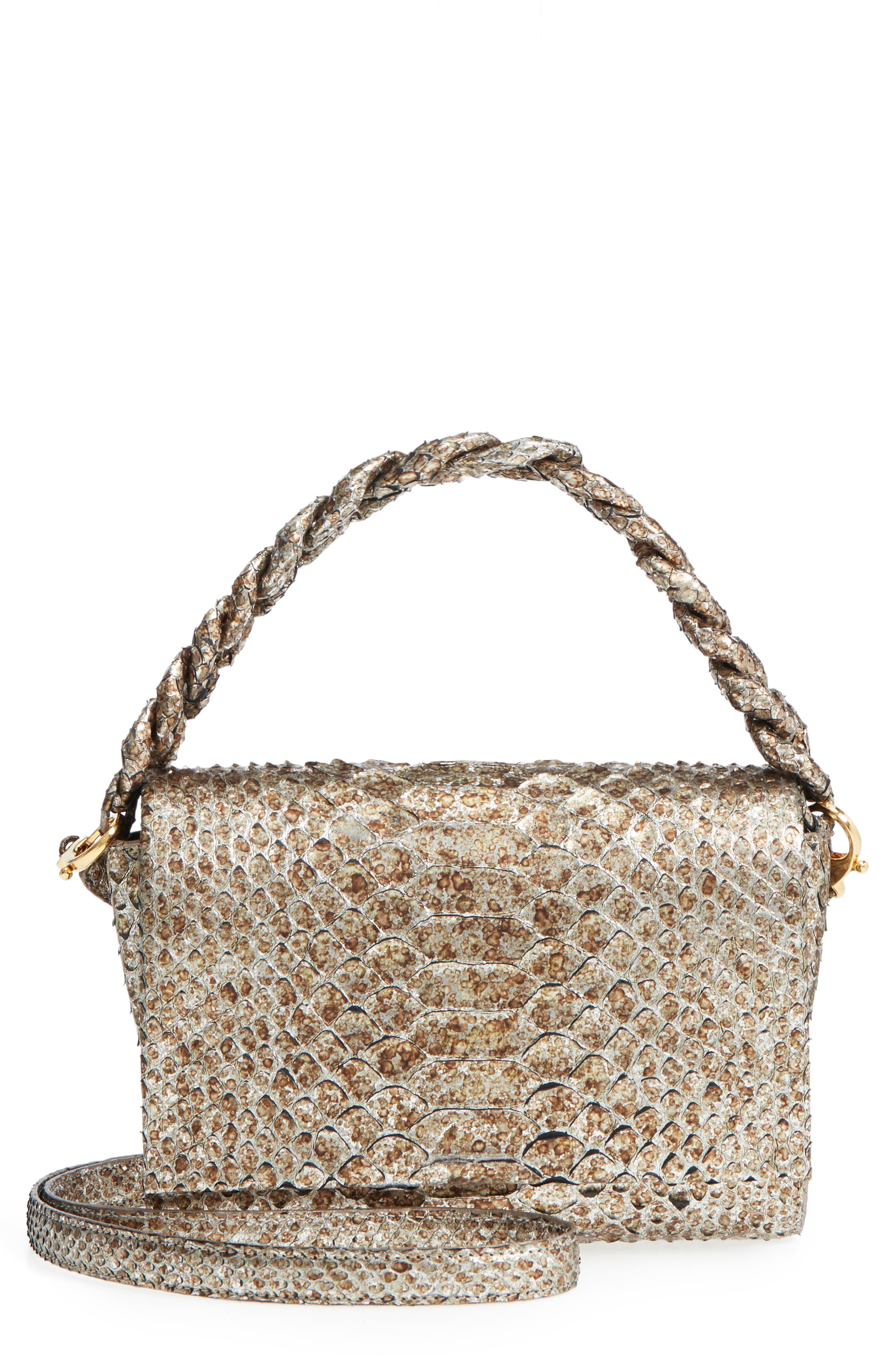 Small Carrie Genuine Crocodile Metallic Clutch,                             Main thumbnail 1, color,                             Metallic Gold