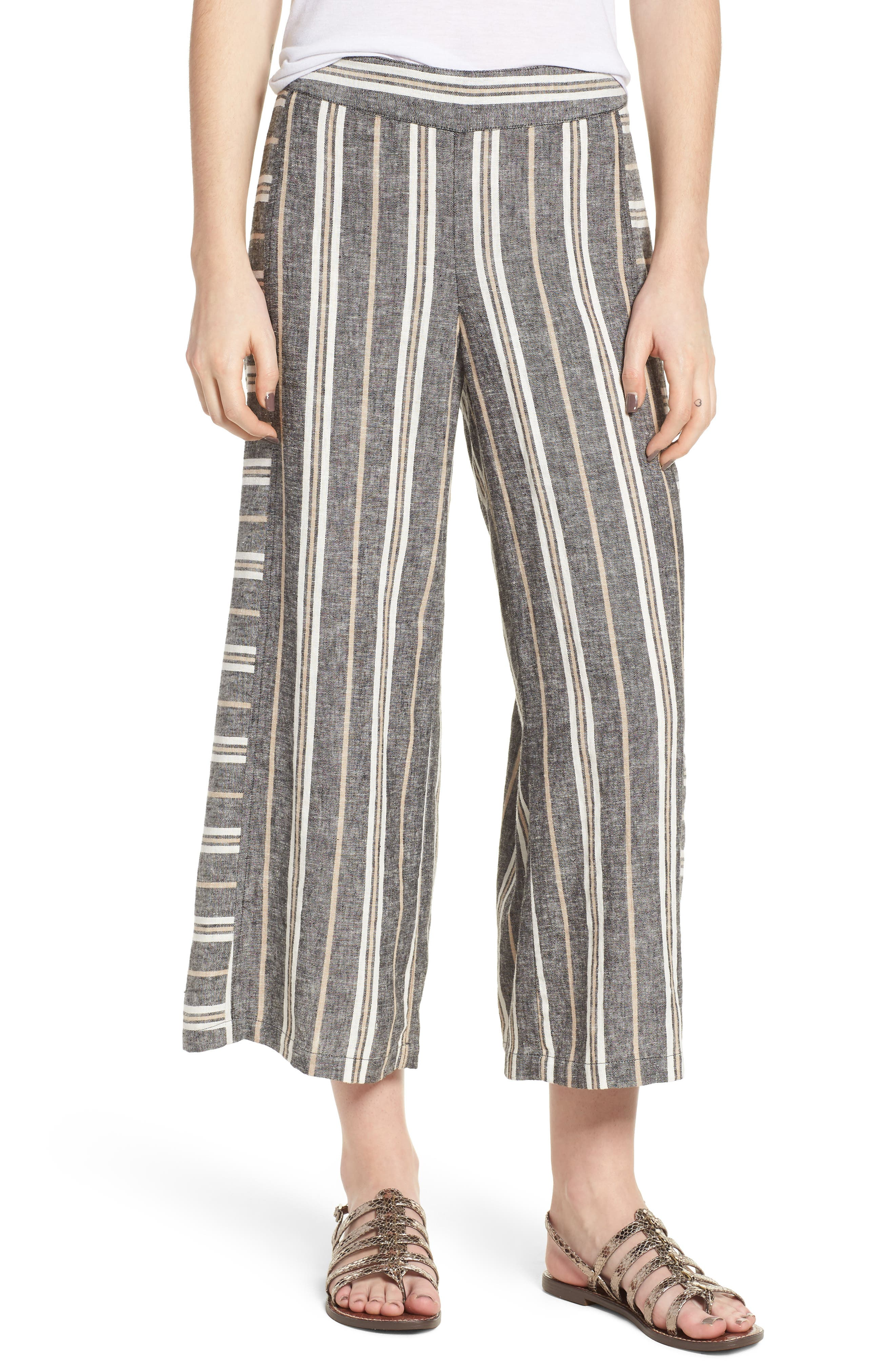 Stripe Linen Blend Pants,                             Main thumbnail 1, color,                             Black Betsty Stripe
