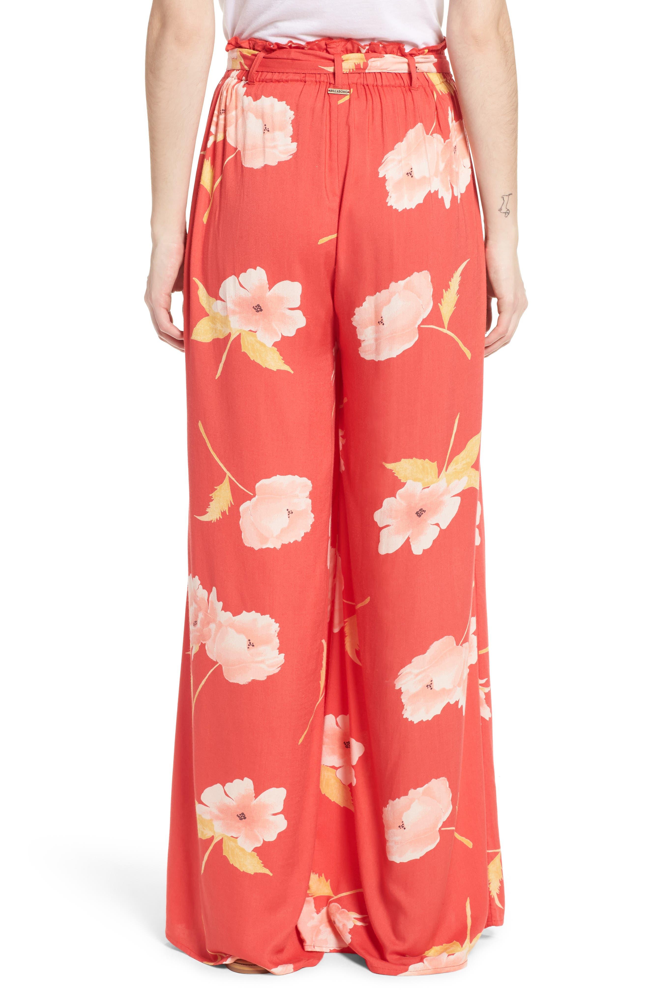 Happy Dance Floral Wide Leg Pants,                             Alternate thumbnail 2, color,                             Ger-Geranium