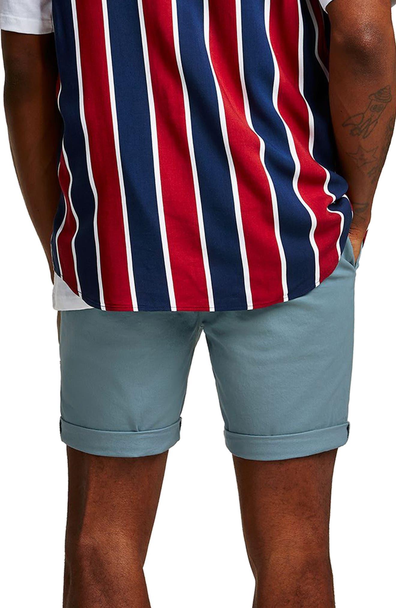 Skinny Fit Chino Shorts,                             Alternate thumbnail 2, color,                             Dark Blue