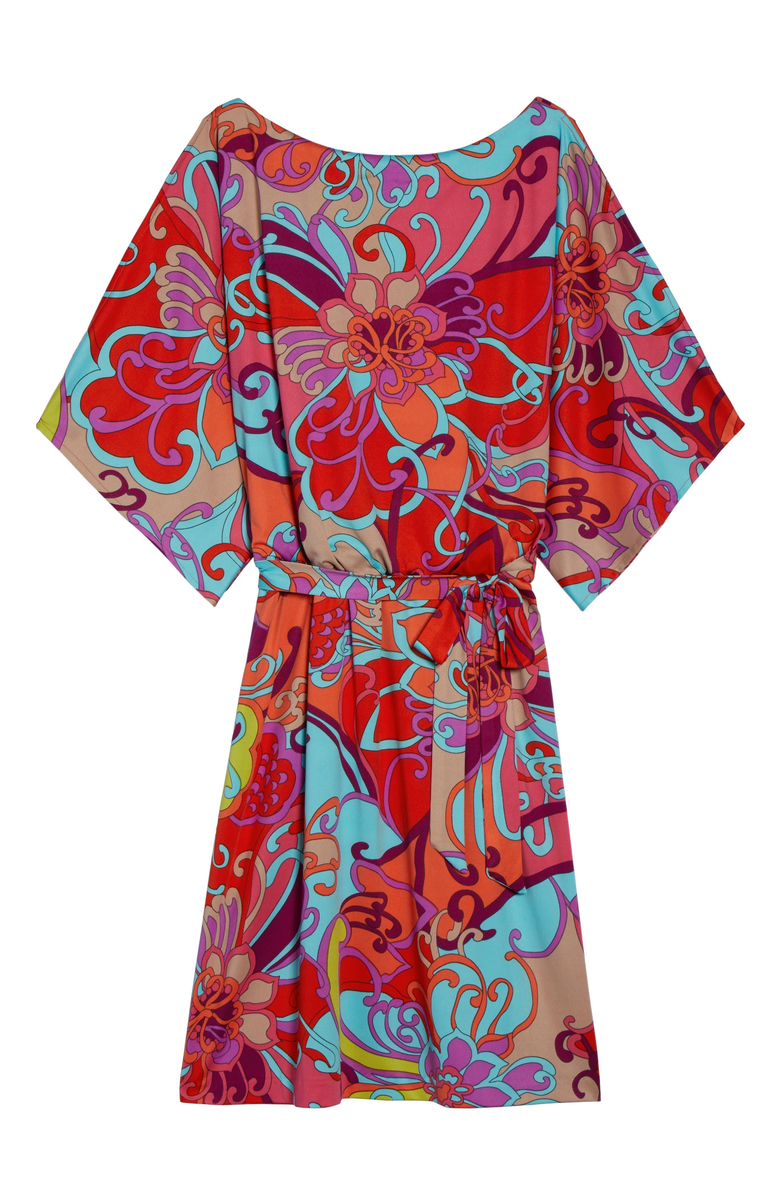 Bernice Print Dress,                             Alternate thumbnail 6, color,                             Coral Lily