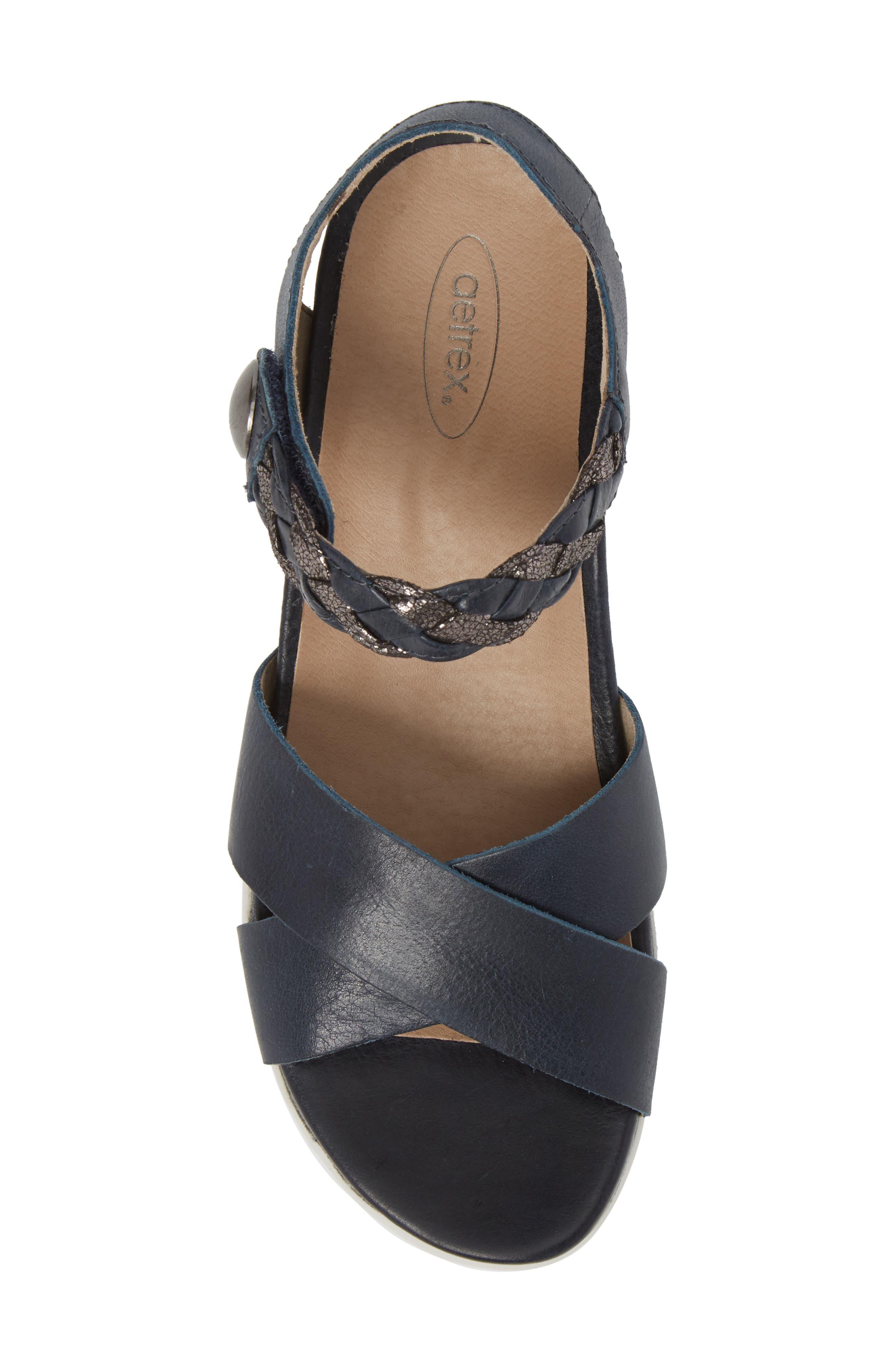 Piper Sandal,                             Alternate thumbnail 5, color,                             Navy Leather