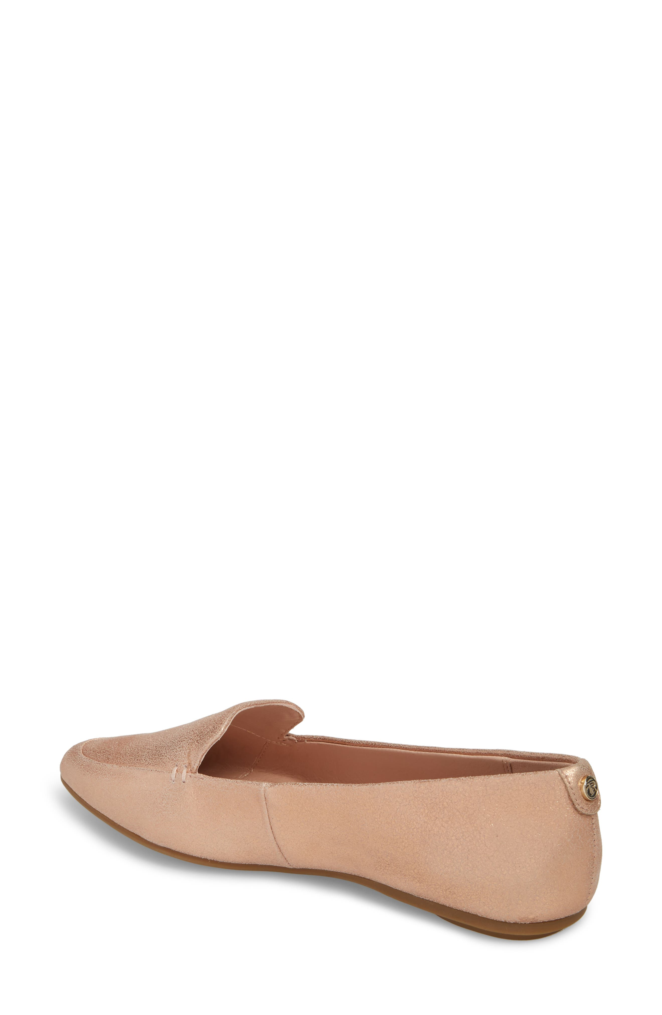Faye Pointy Toe Loafer,                             Alternate thumbnail 2, color,                             Rose Gold Metallic Leather