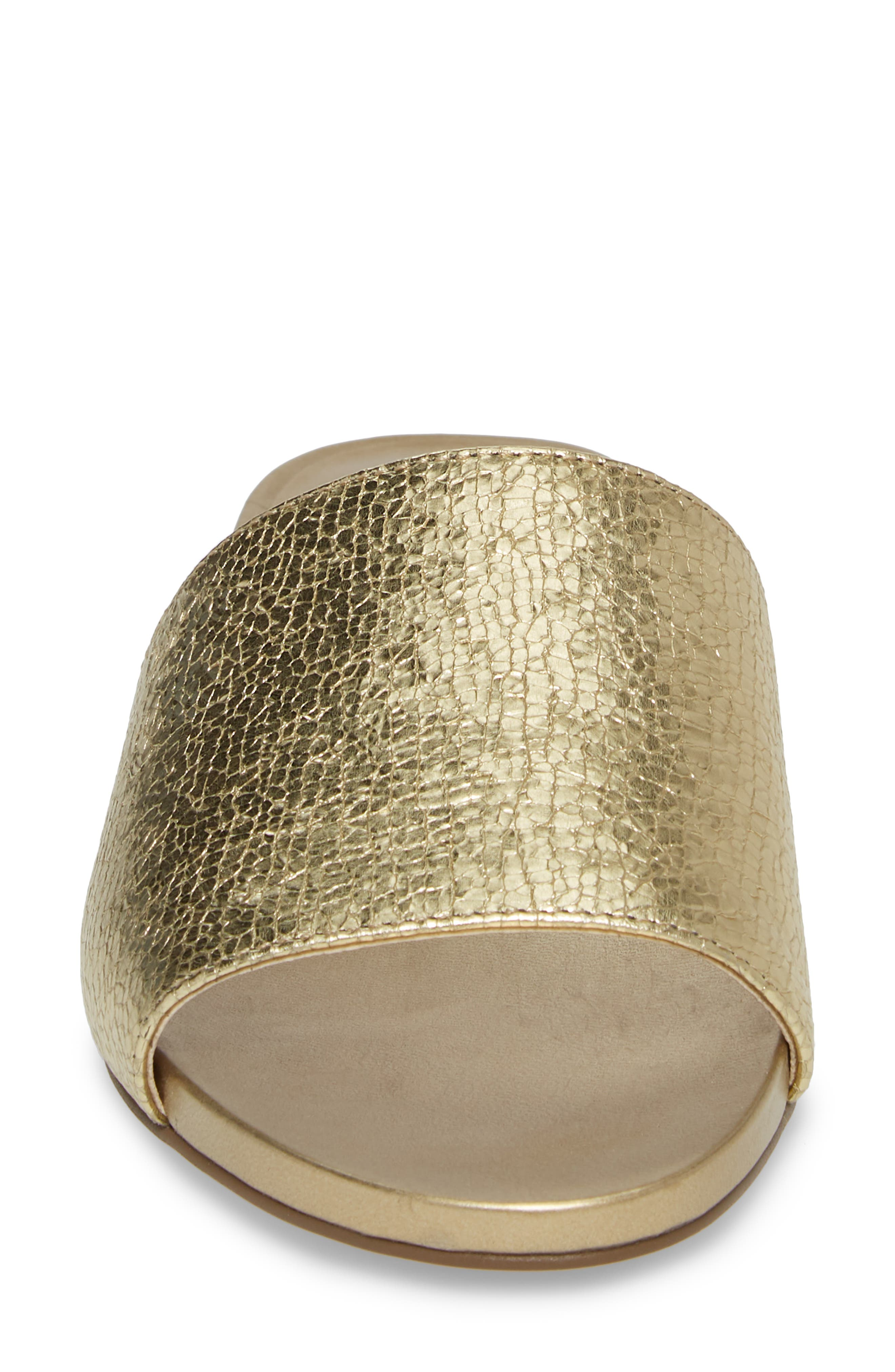 Haydan Slide Sandal,                             Alternate thumbnail 4, color,                             Karat Gold Fabric