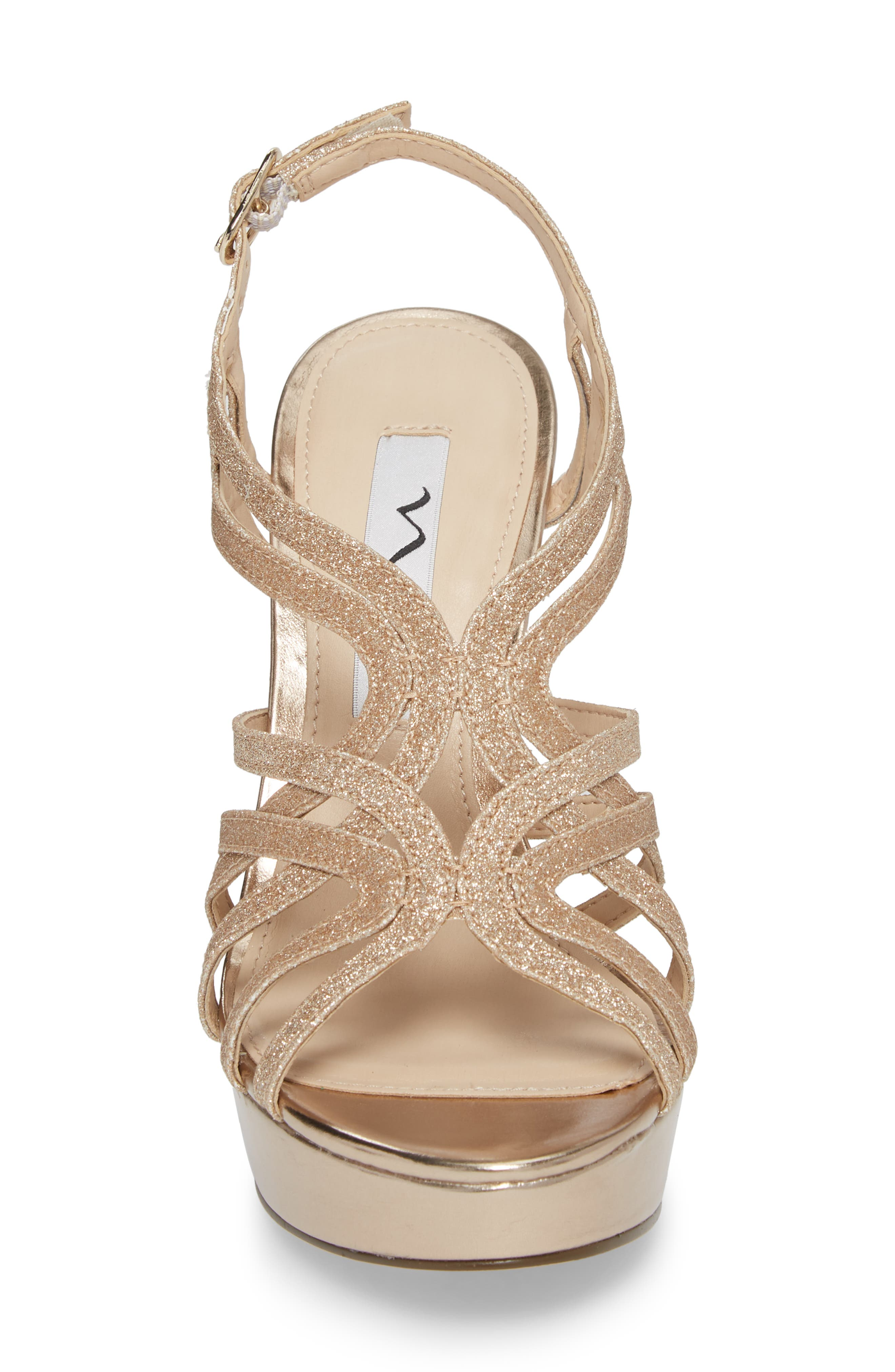 Solina Platform Sandal,                             Alternate thumbnail 4, color,                             Gold Glitter Fabric