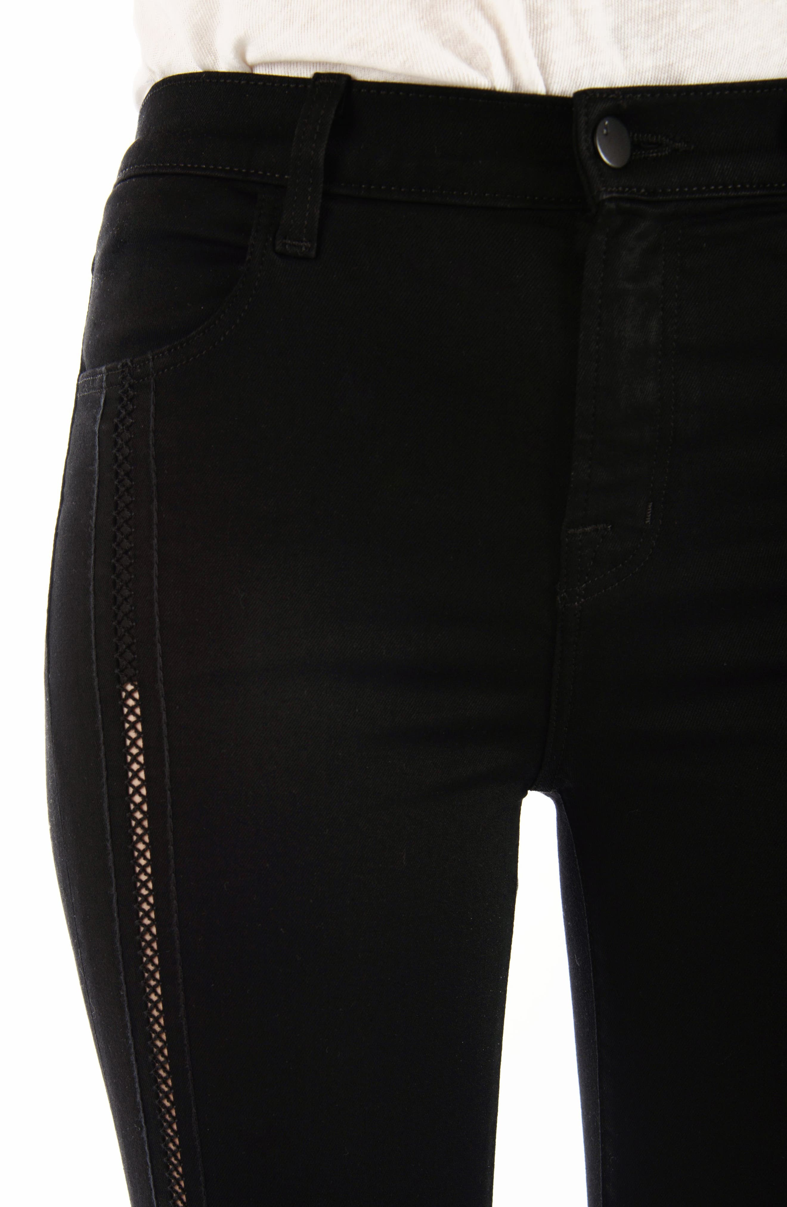 Alana High Waist Crop Skinny Jeans,                             Alternate thumbnail 4, color,                             Black Ladder Lace