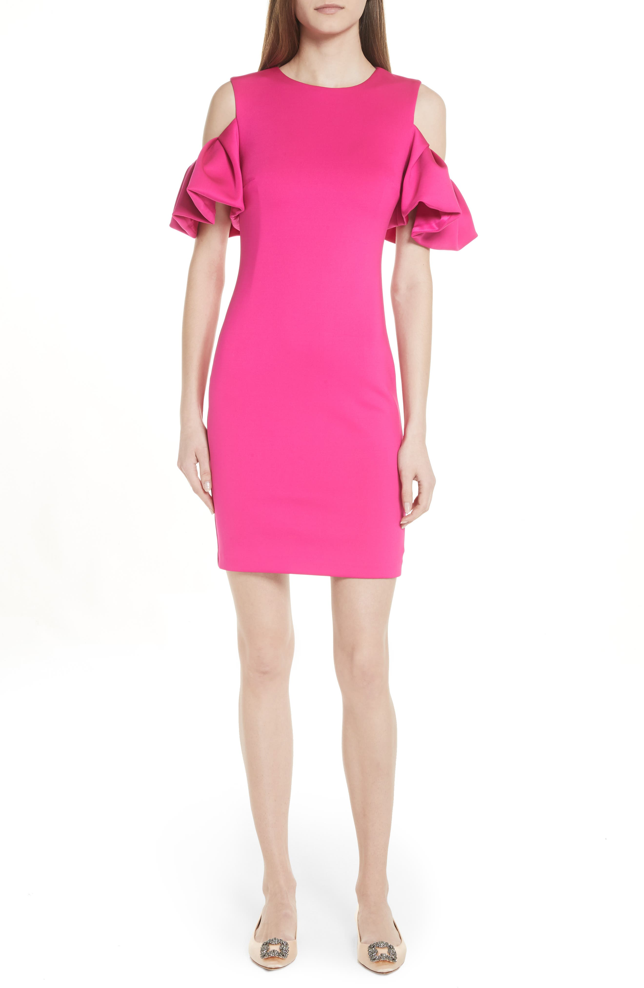 Salnie Cold Shoulder Sheath Dress,                             Main thumbnail 1, color,                             Bright Pink