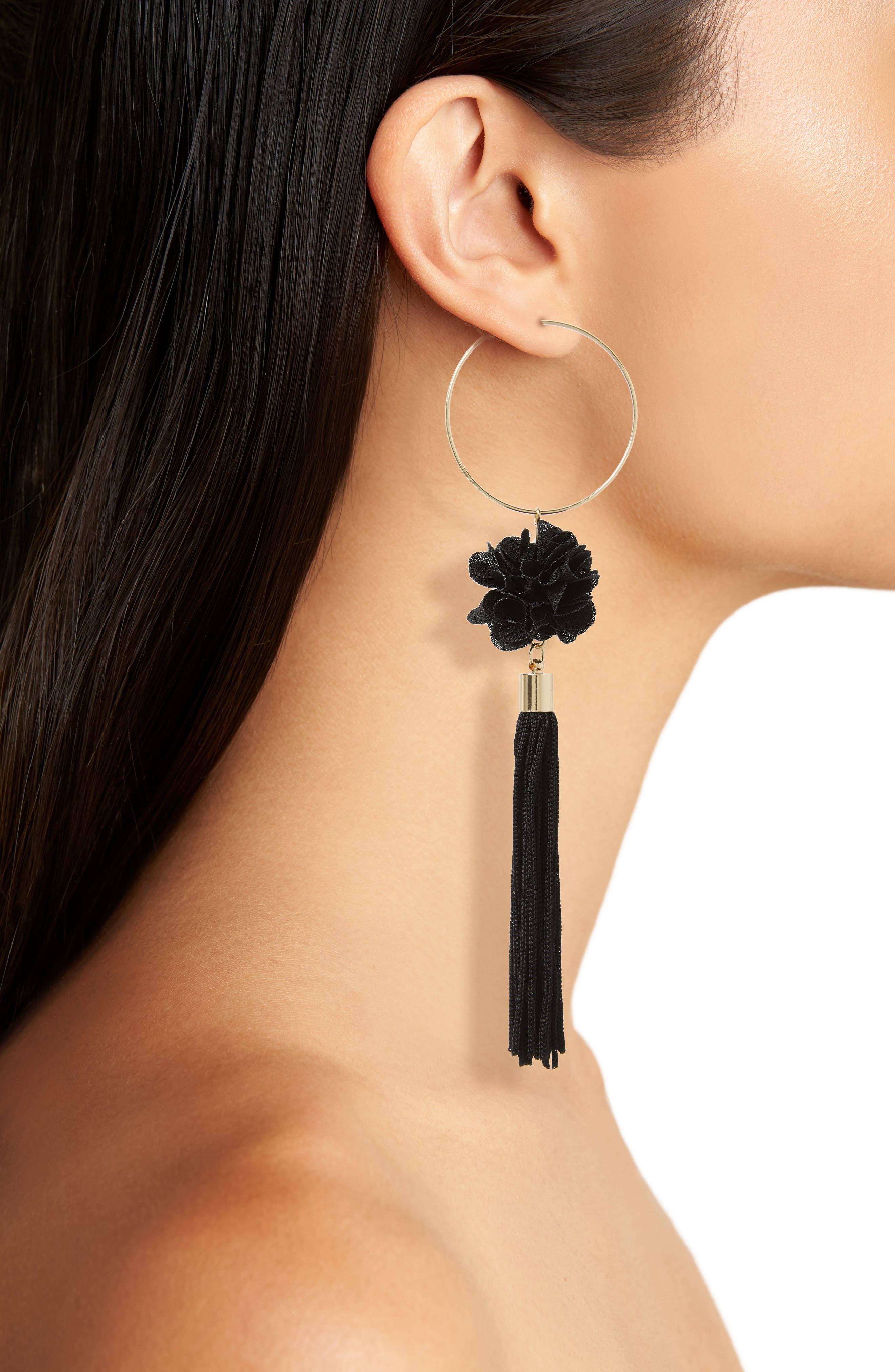 Hoop Flower Tassel Drop Earrings,                             Alternate thumbnail 2, color,                             Black
