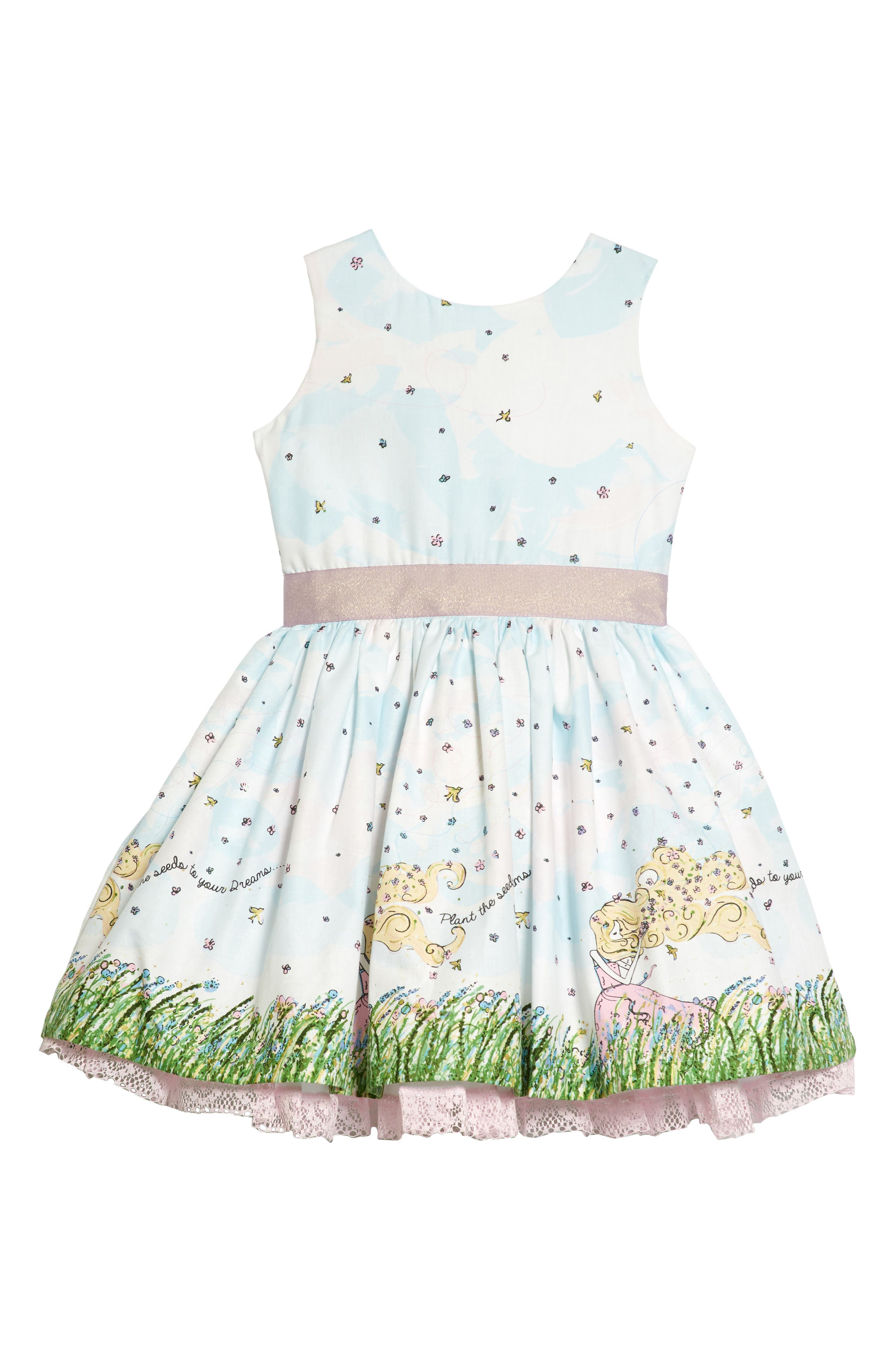 Flower Girl Party Dress,                         Main,                         color, White