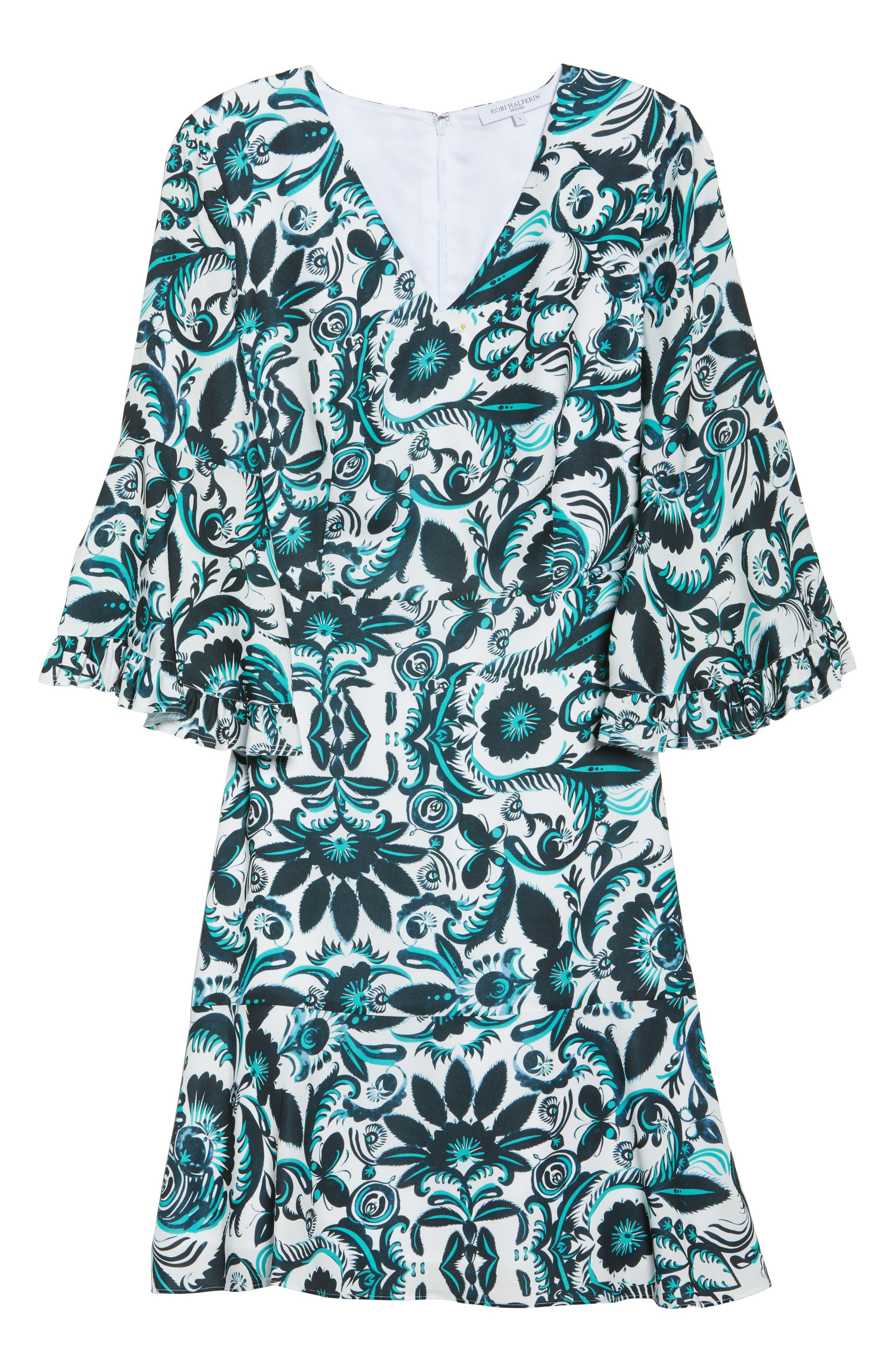 Scottie Fit & Flare Dress,                             Alternate thumbnail 6, color,                             White Multi