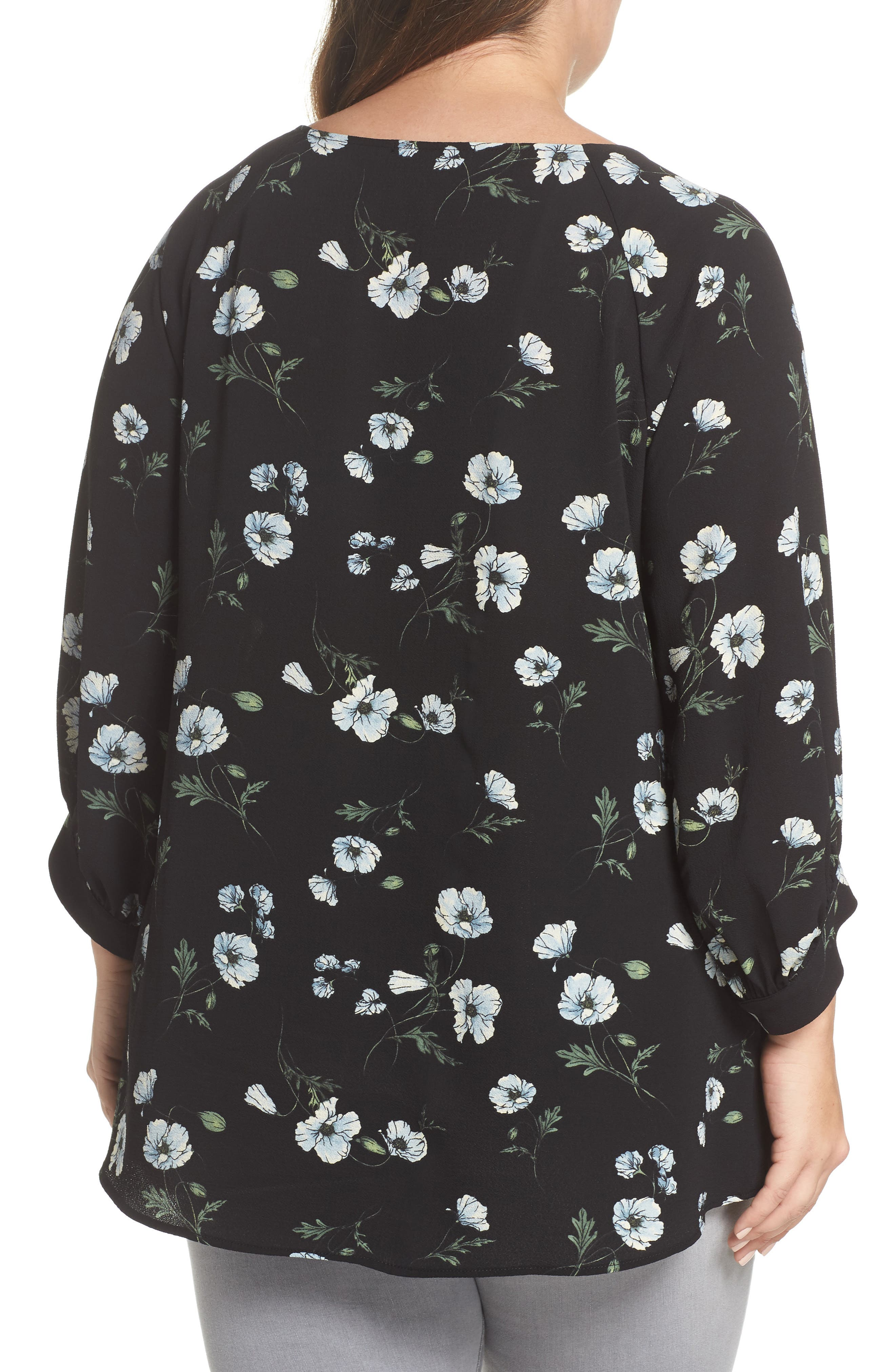 x Living in Yellow Maggie Twist Hem Top,                             Alternate thumbnail 2, color,                             Black Floral