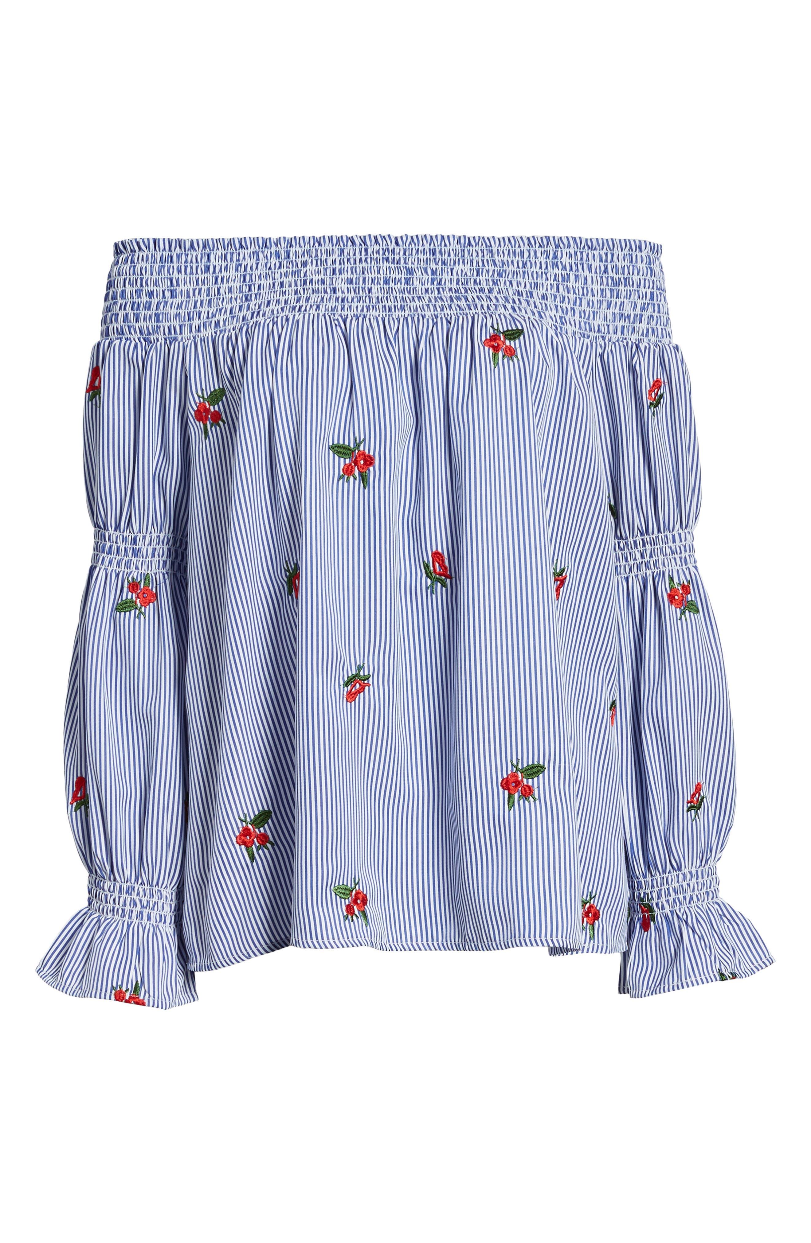Floral Embroidered Stripe Off the Shoulder Top,                             Alternate thumbnail 7, color,                             Blue Stripe