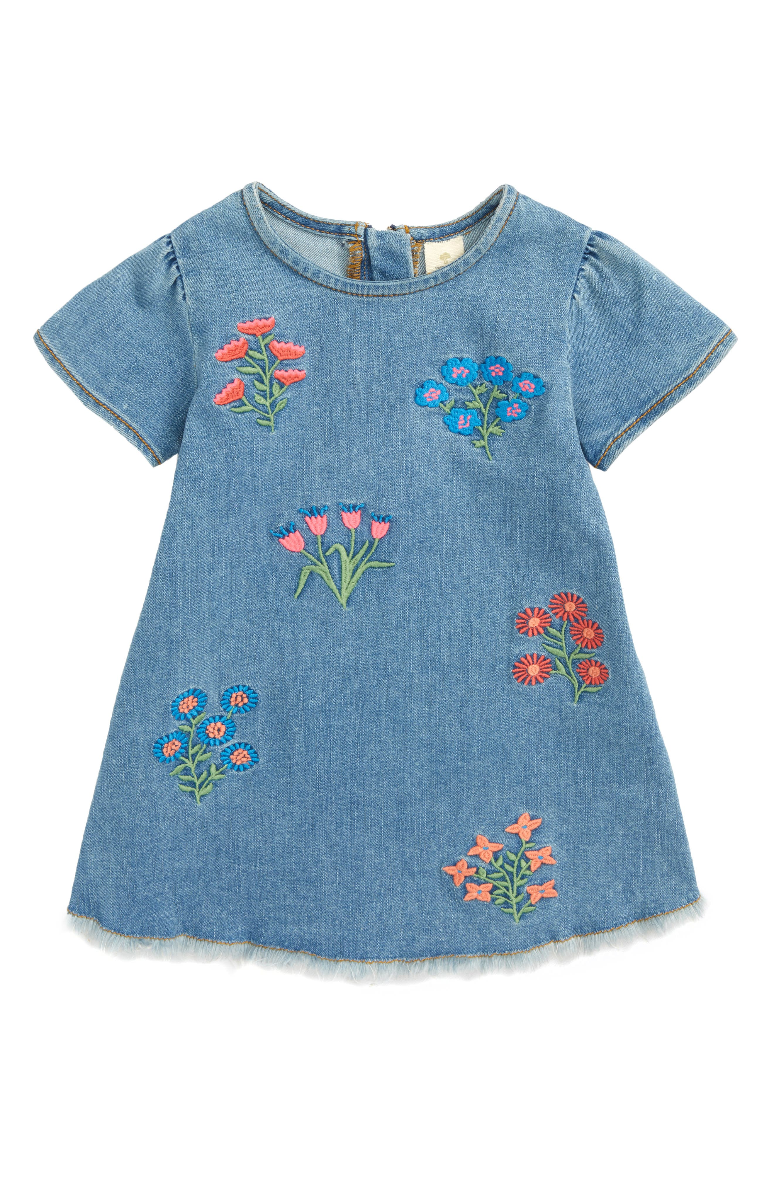 Embroidered Denim Dress,                             Main thumbnail 1, color,                             Field Wash