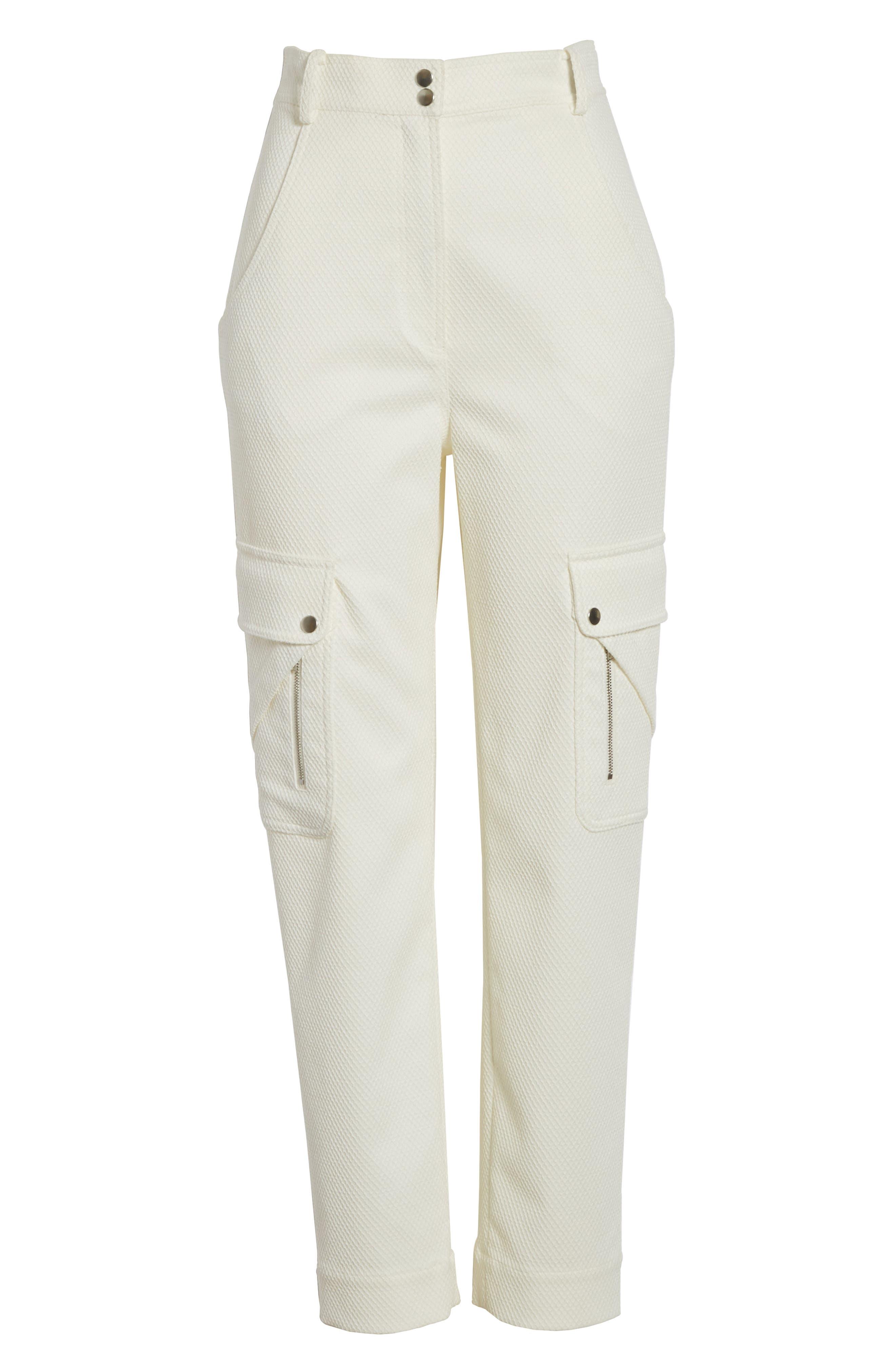 Textured Stretch Cotton Blend Utility Pants,                             Alternate thumbnail 6, color,                             Soft White